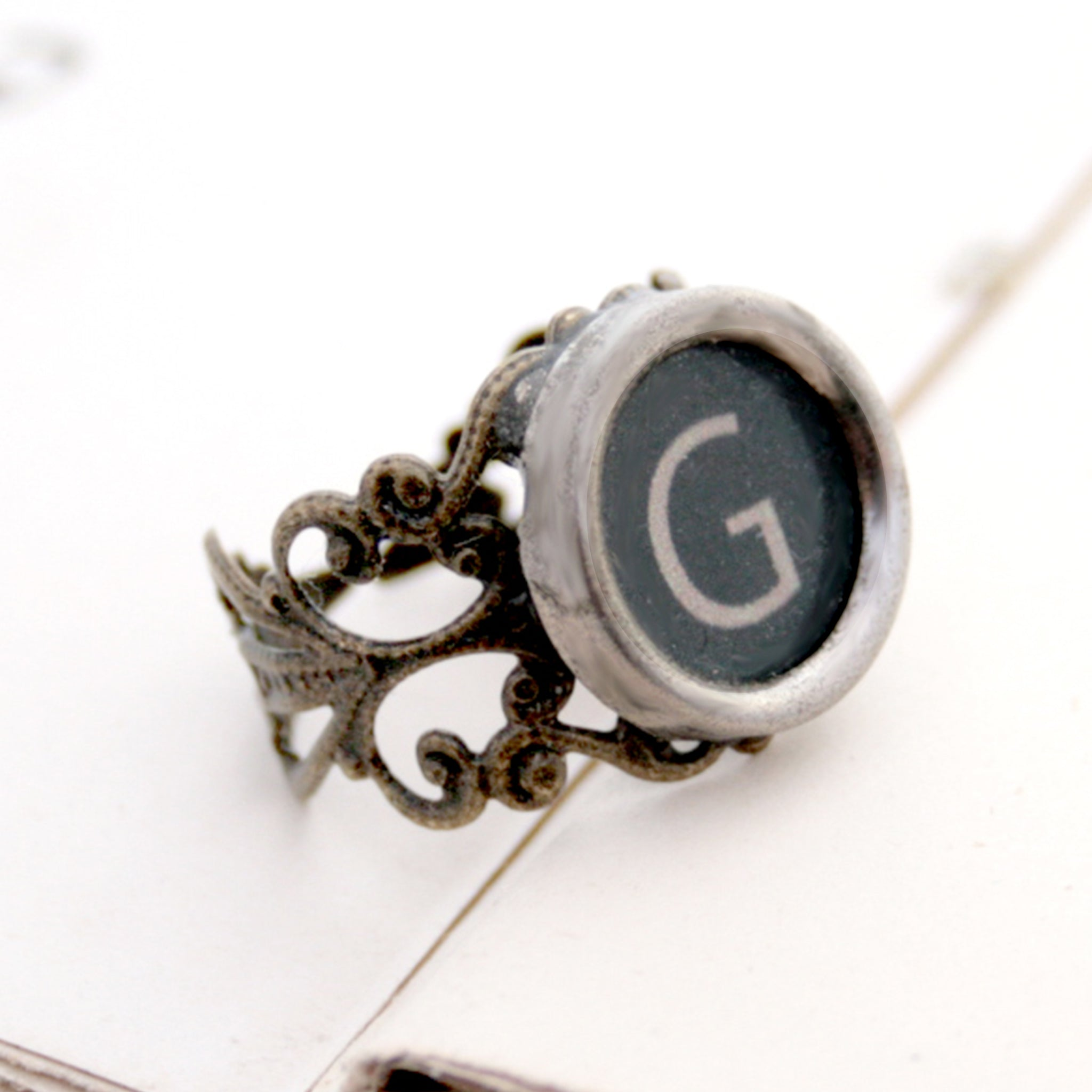 initial ring made of authentic vintage typewriter key in black color