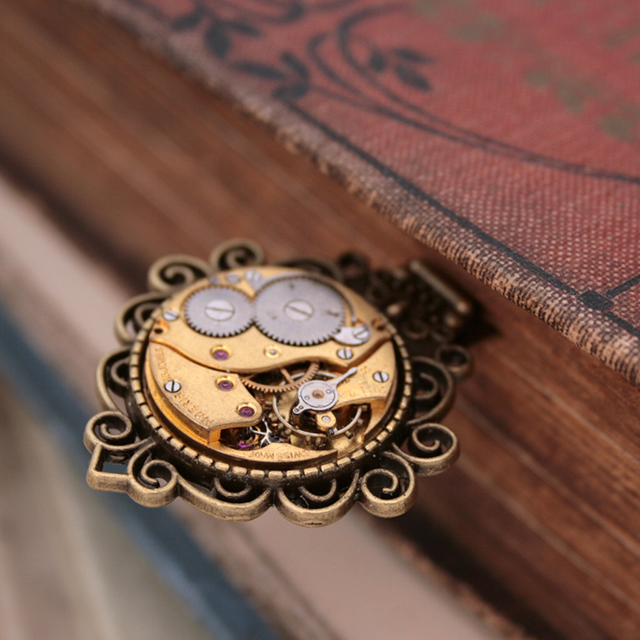 Unique Bronze Bookmark made of vintage watch movement