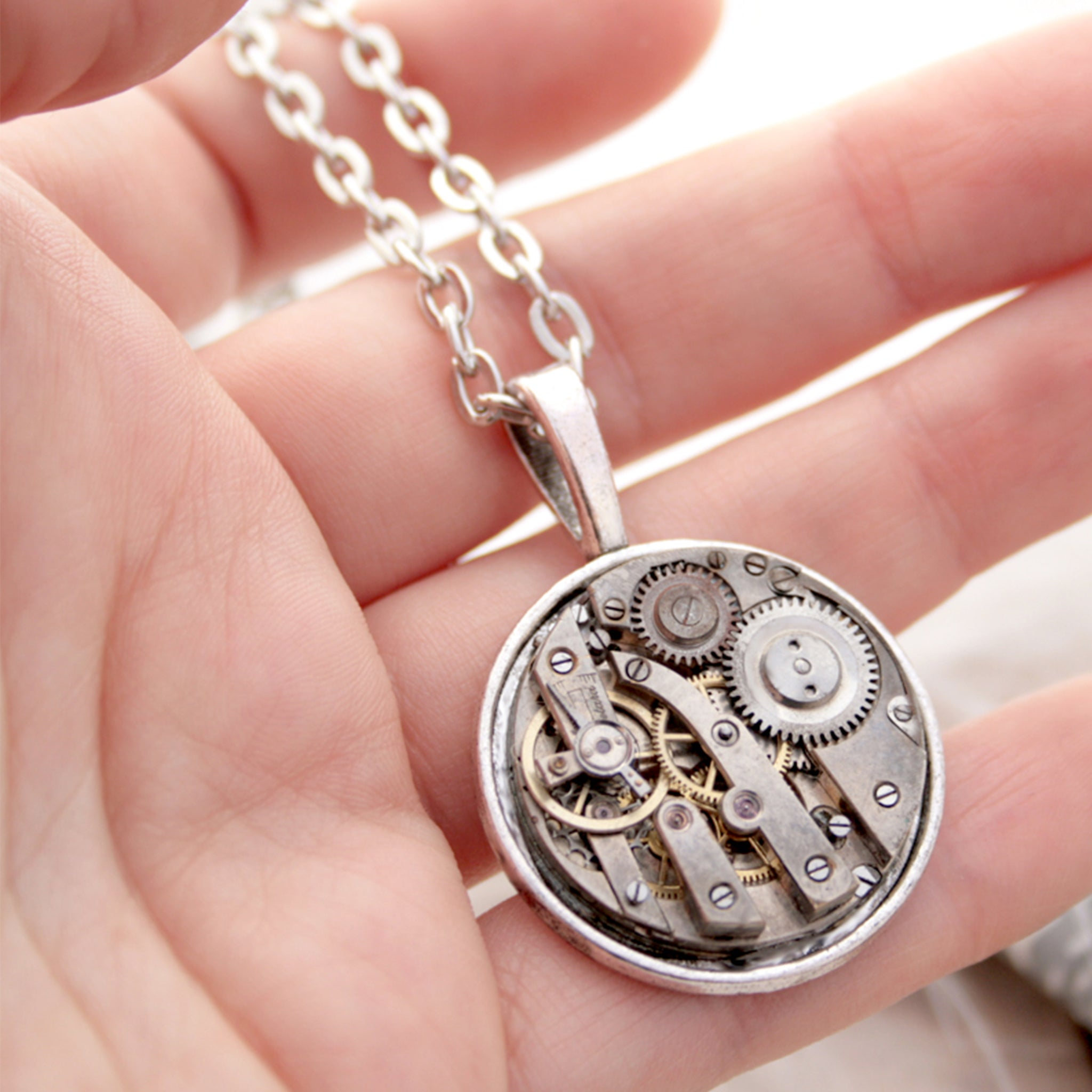 Unique Silver Pendant Necklace with Watch Mechanism in Steampunk Style