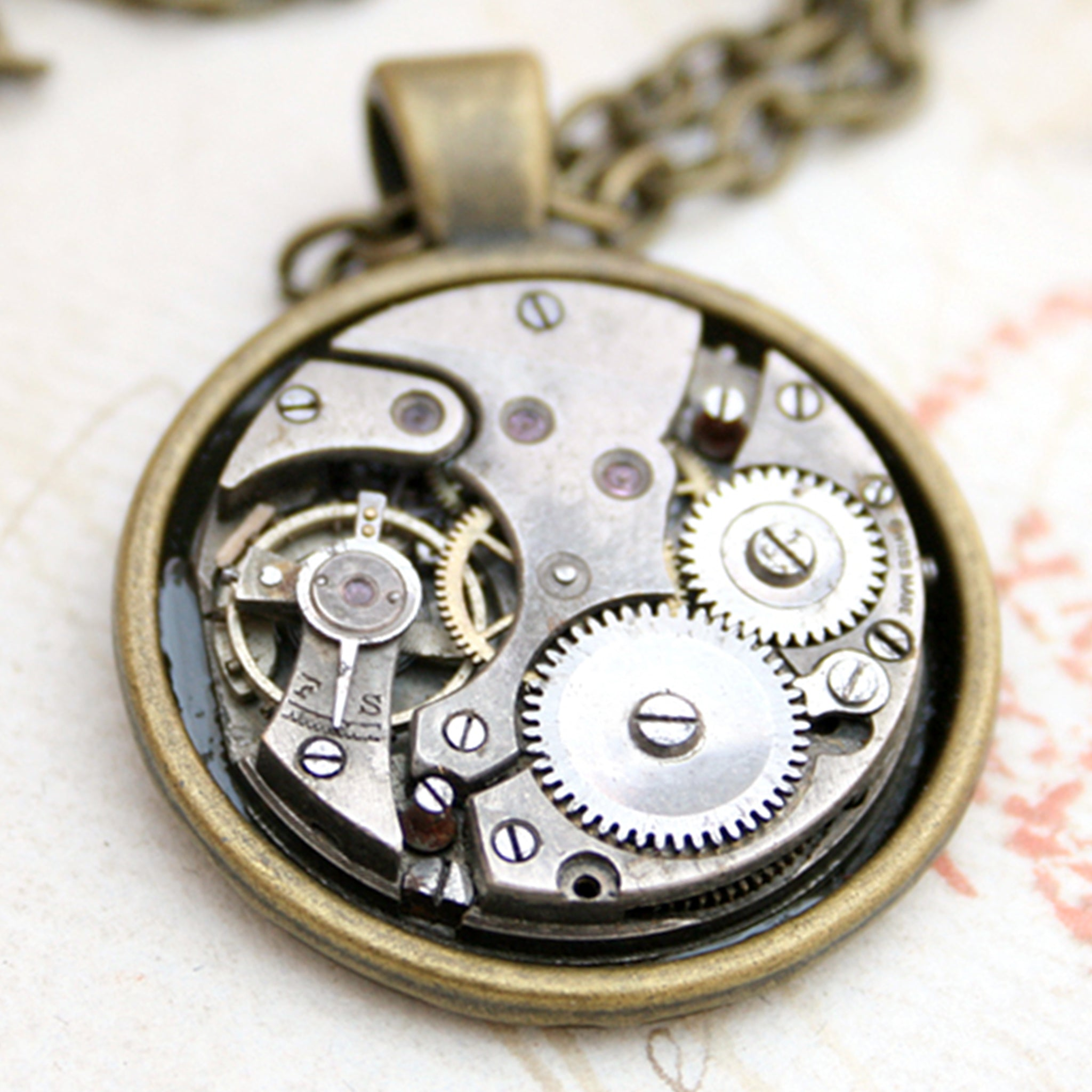 watch movement necklace in steampunk style