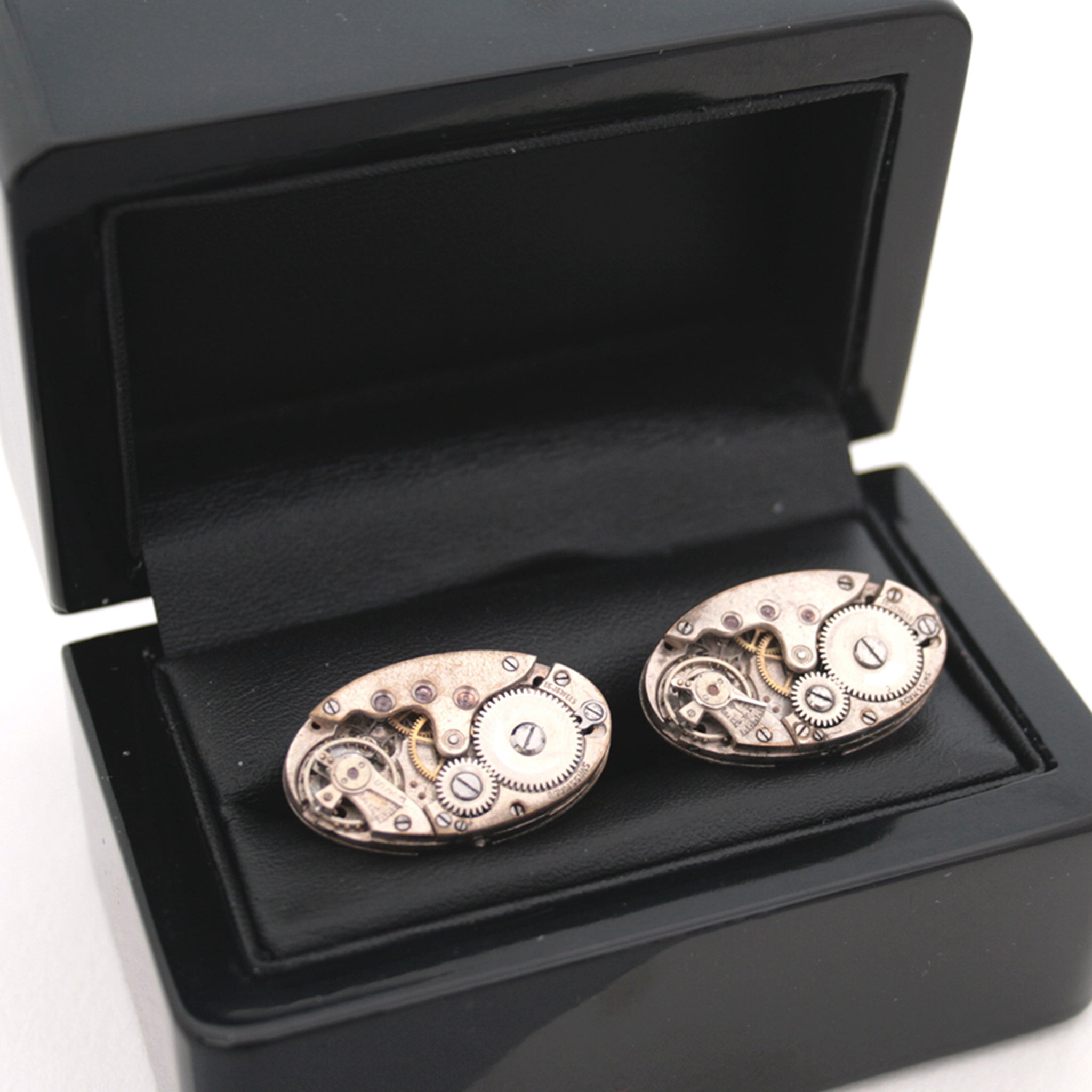 Wedding Cufflinks in Steampunk Style in ebony box