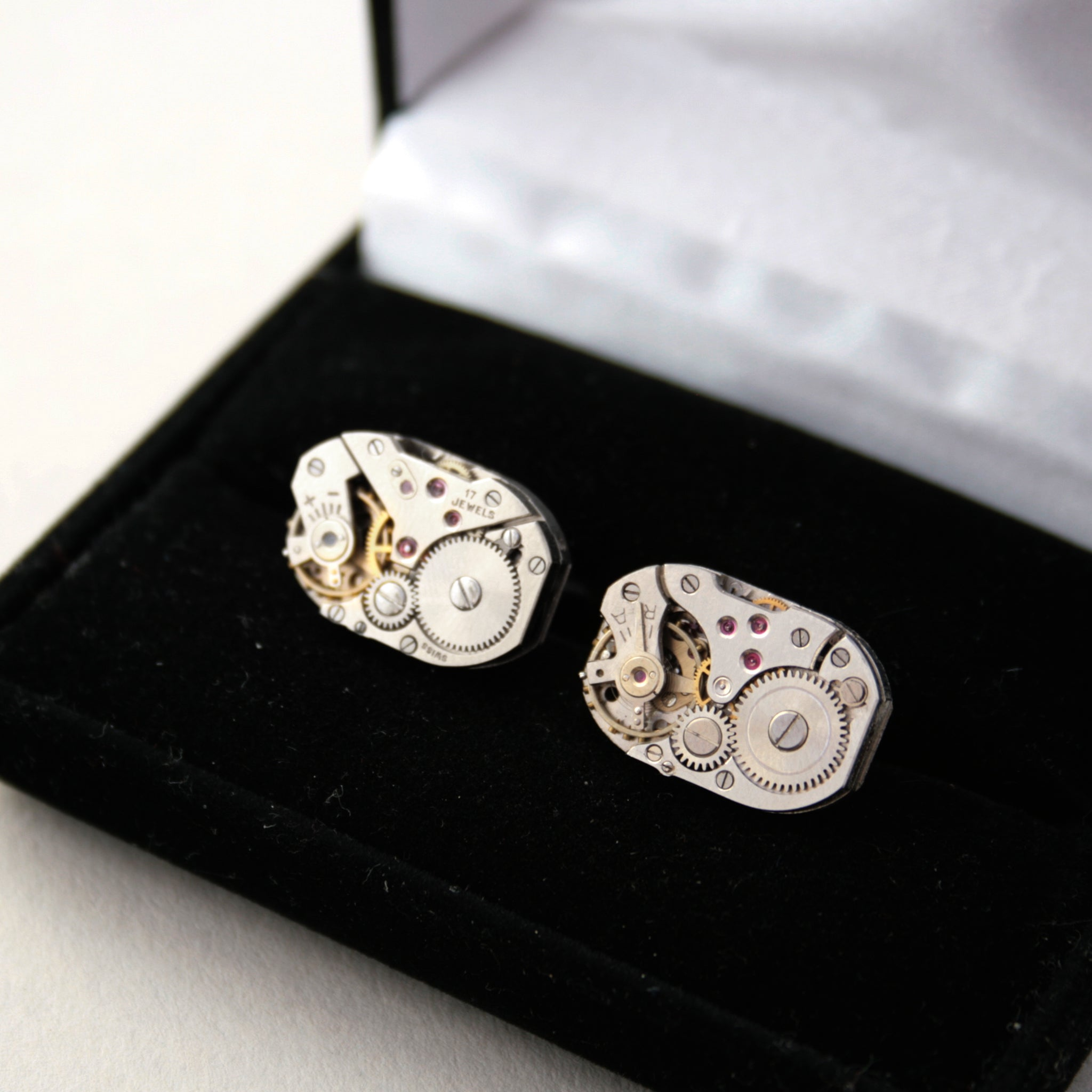 Clockwork Cufflinks in a box