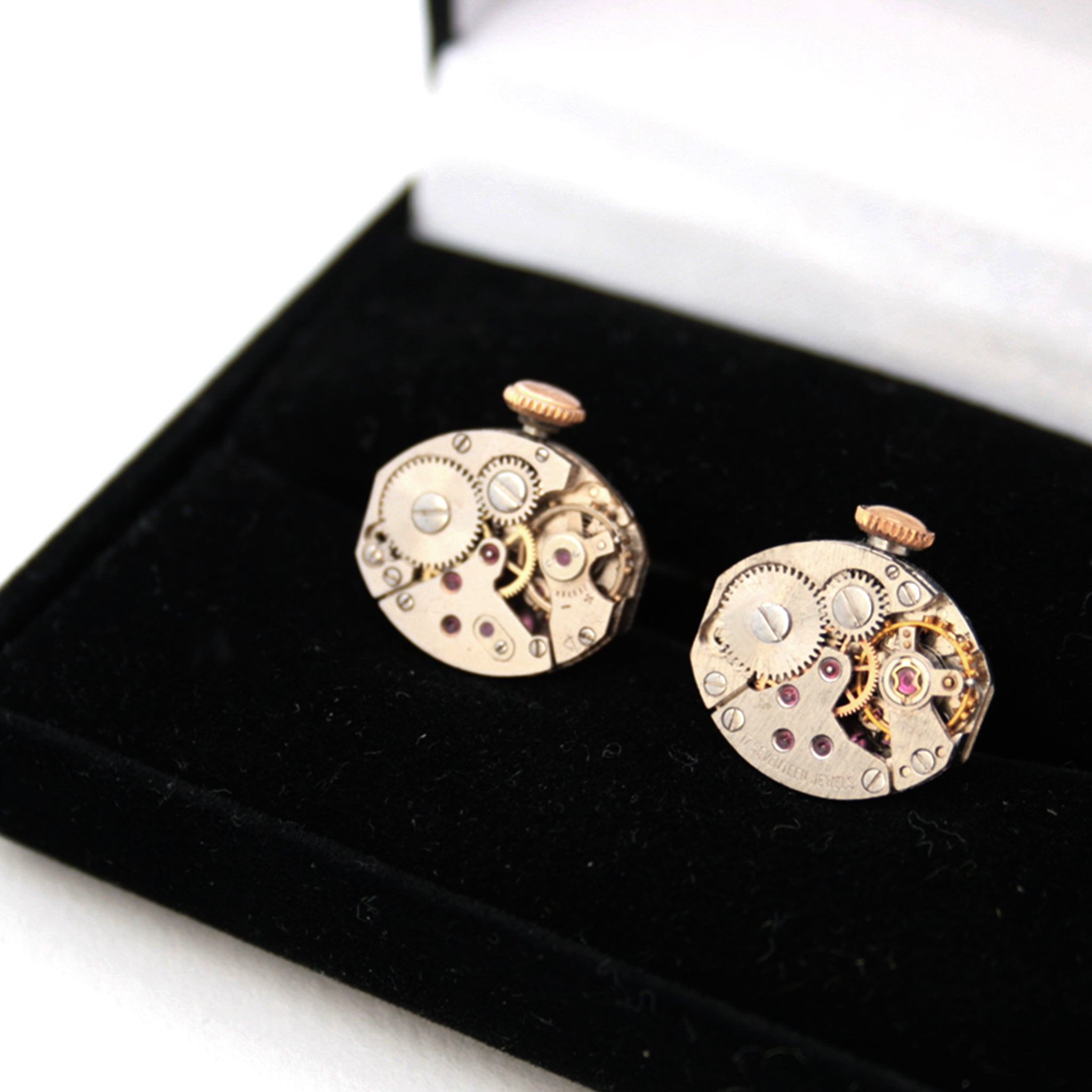 steampunk wedding cufflinks featuring antique watch movements with wind ups in a black velour box