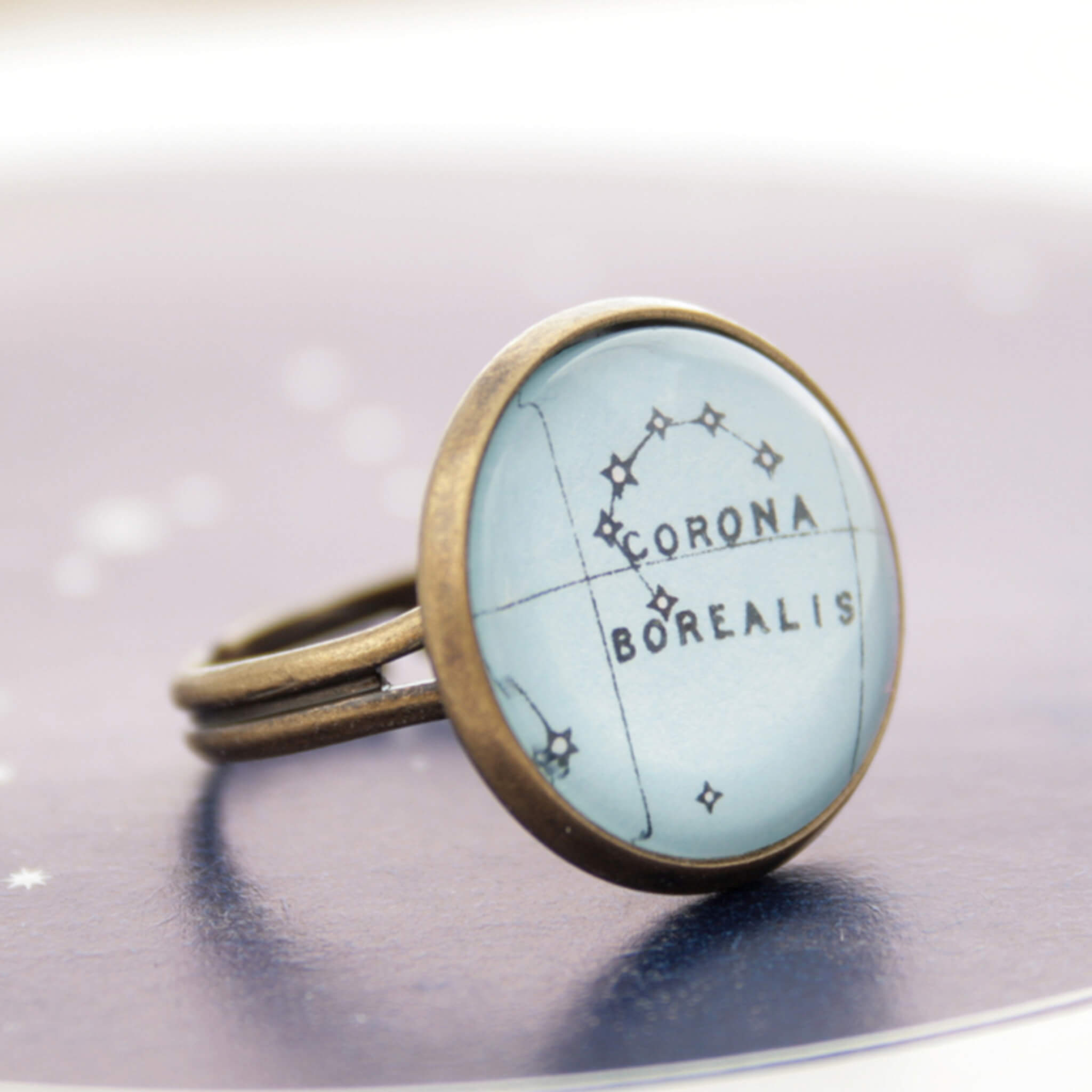 Corona Borealis Constellation ring in bronze color
