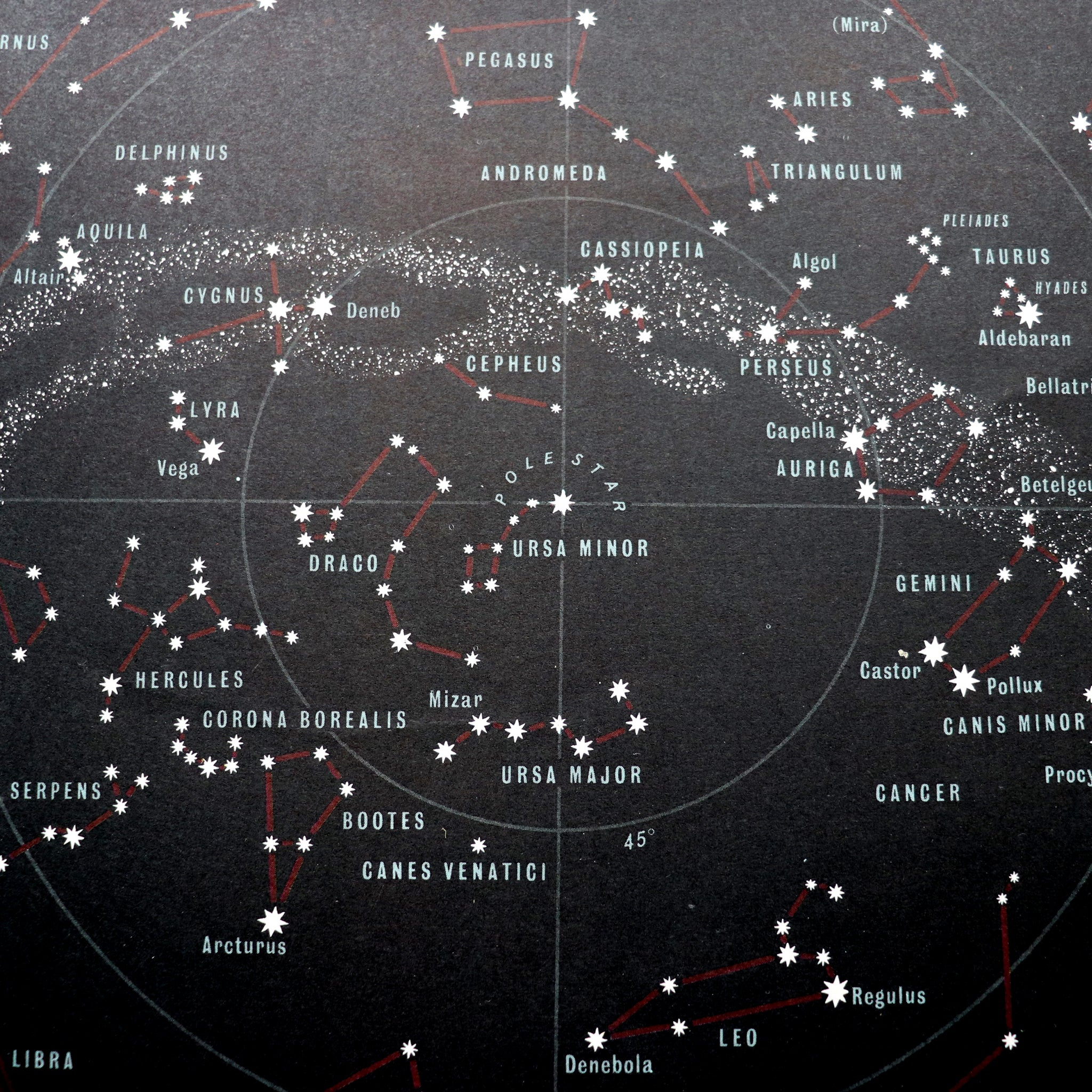 Black map of heaven from