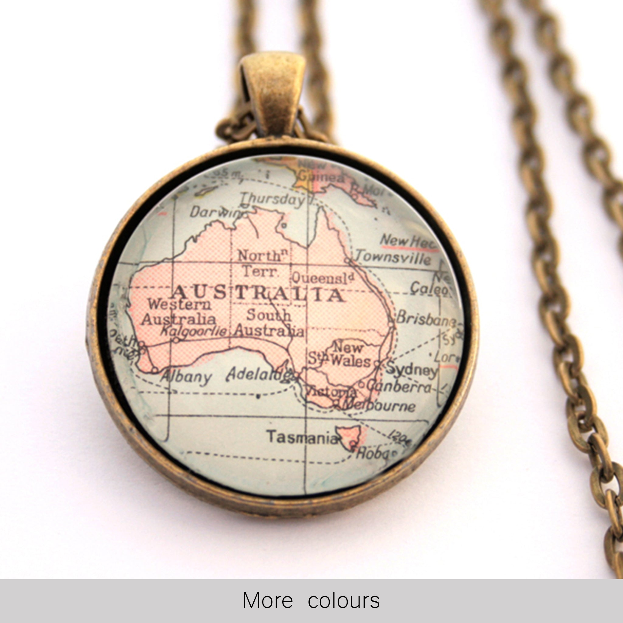 Antique bronze statement necklace featuring map of Australia