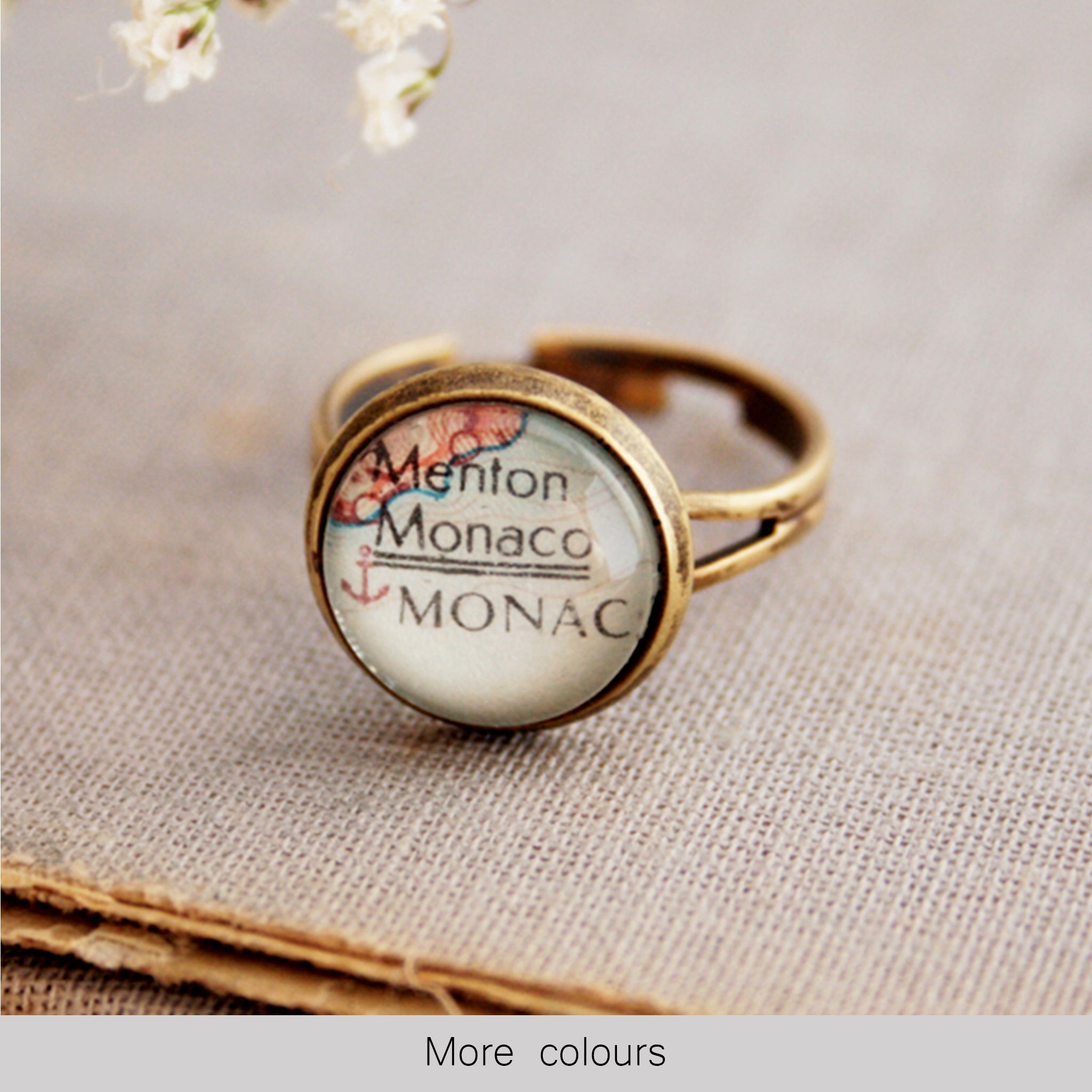 tiny wanderlust ring personalised with map of Monaco