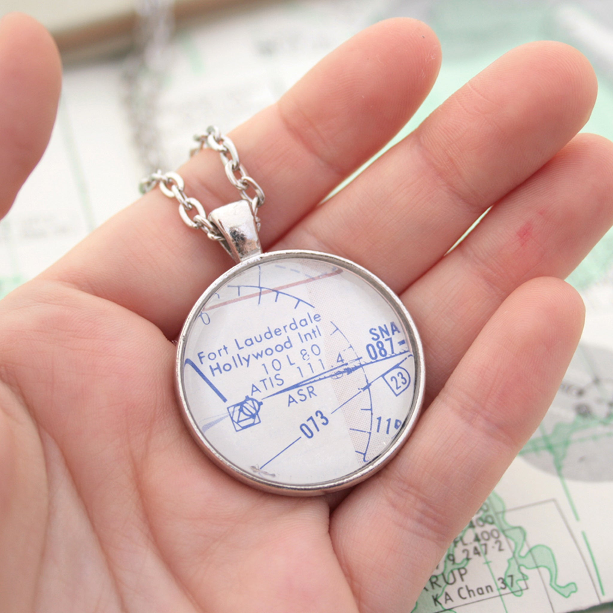 Hold in hand Silver pendant necklace featuring custom pilots chart