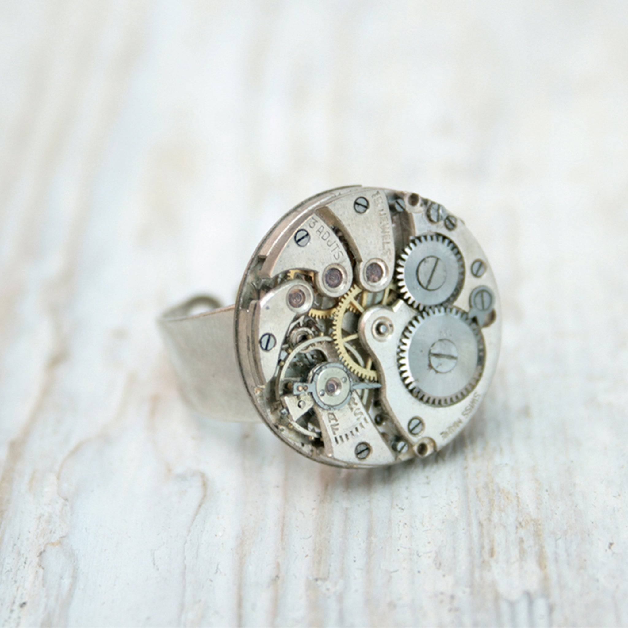 Alternative ring made using a real steampunk Swiss watch mechanism