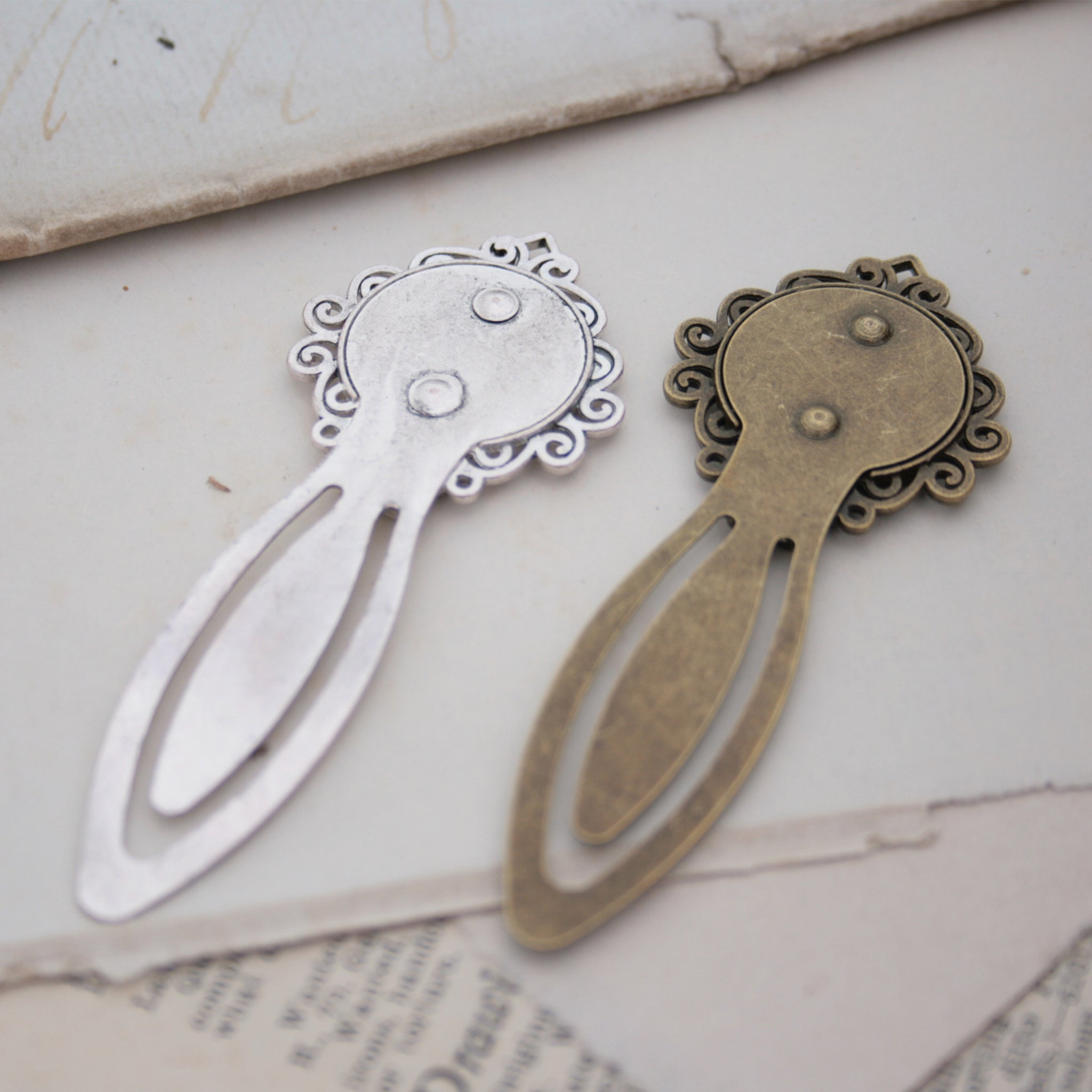 metal bookmarks in silver and antique bronze tone