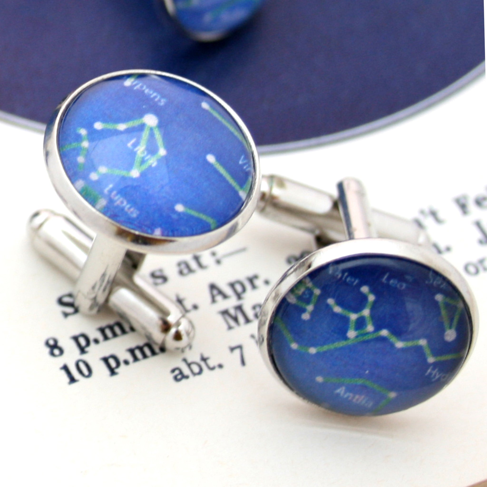 Personalized night sky view cufflinks from your given date and time