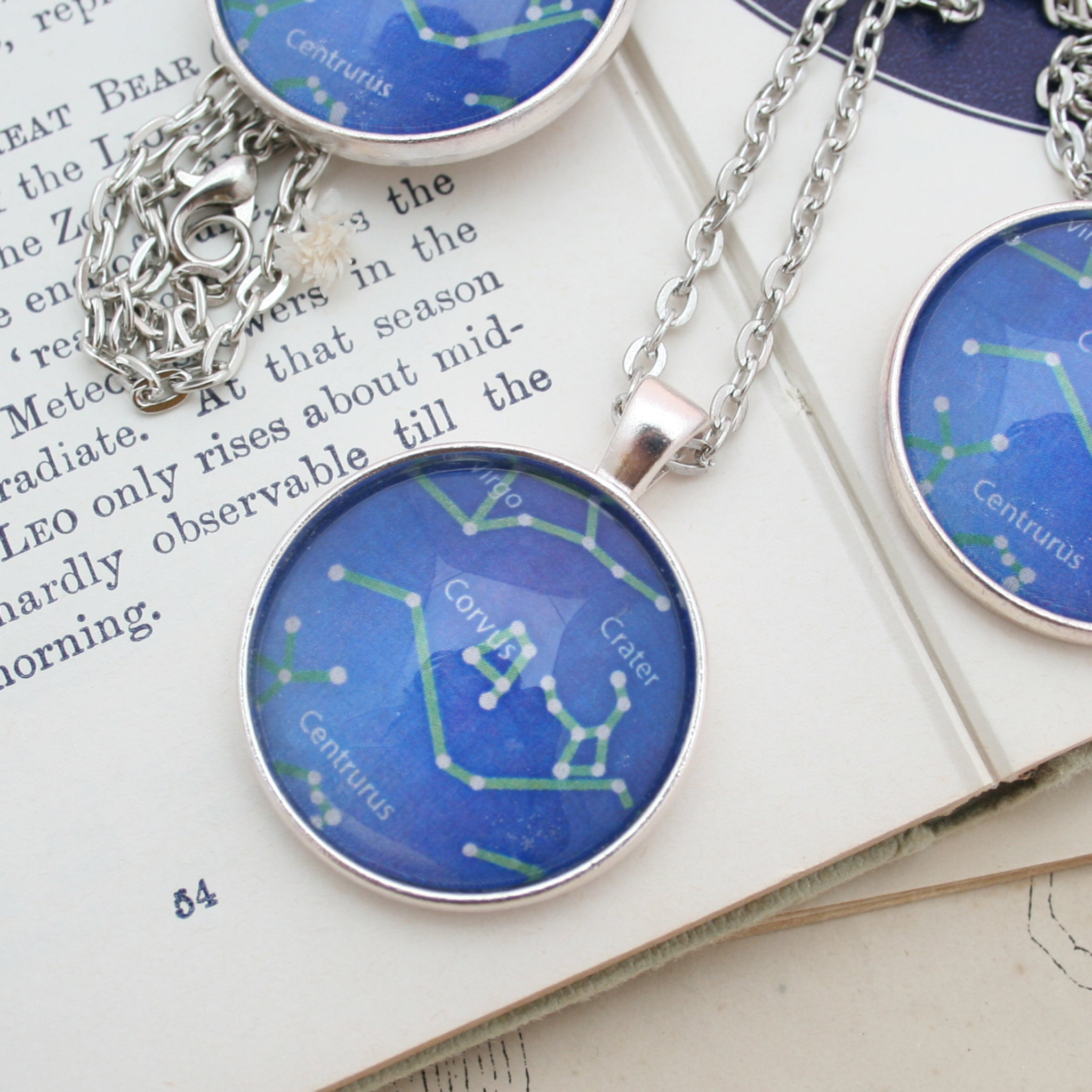 bespoke celestial necklace with map of heaven from given date and place