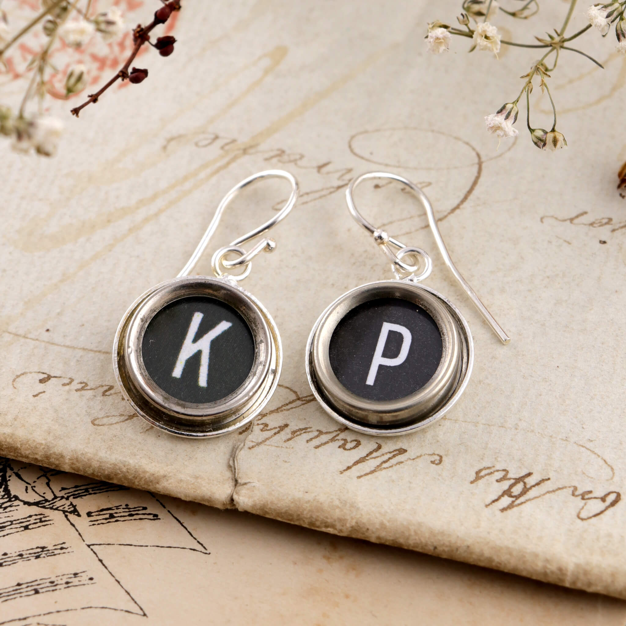 Black initial earrings K and P made of old typewriter keys