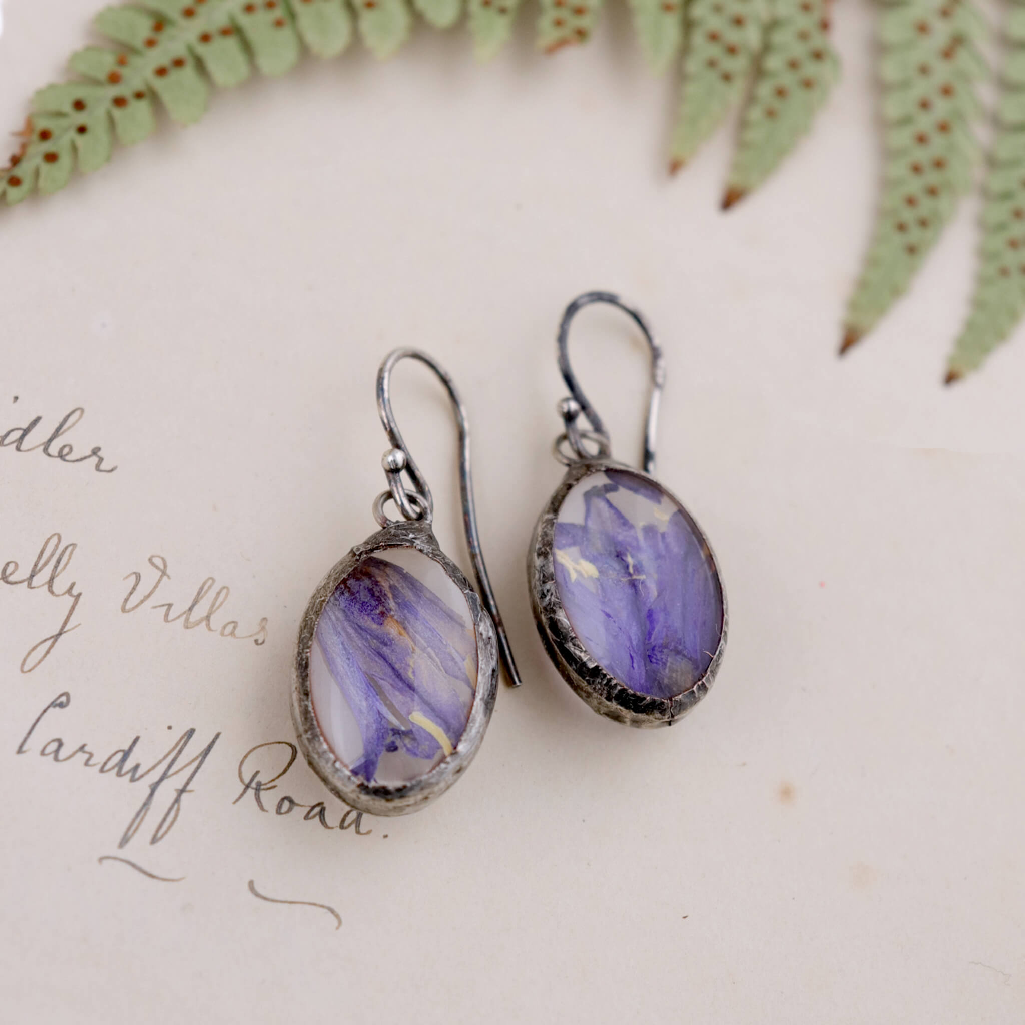 Pressed bluebells earrings in tiffany style lying flat on a vintage papery