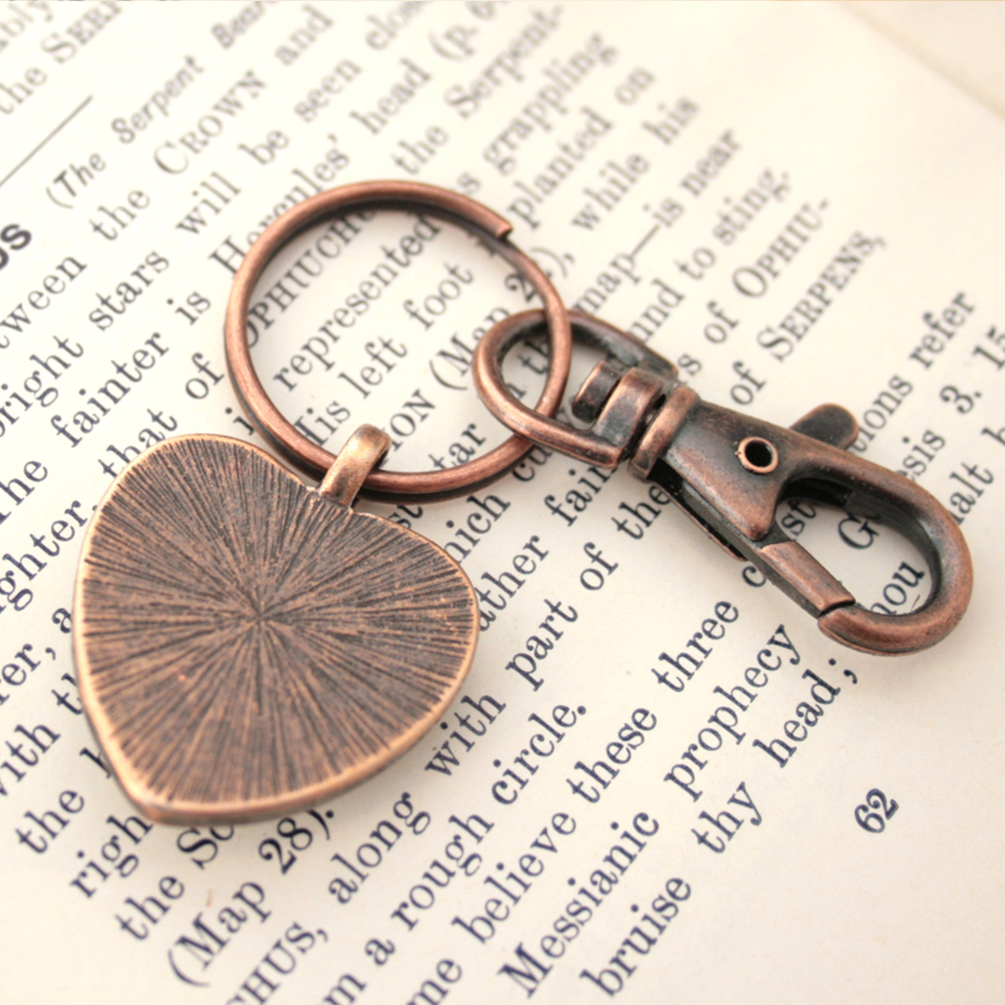 copper keychain in heart shape