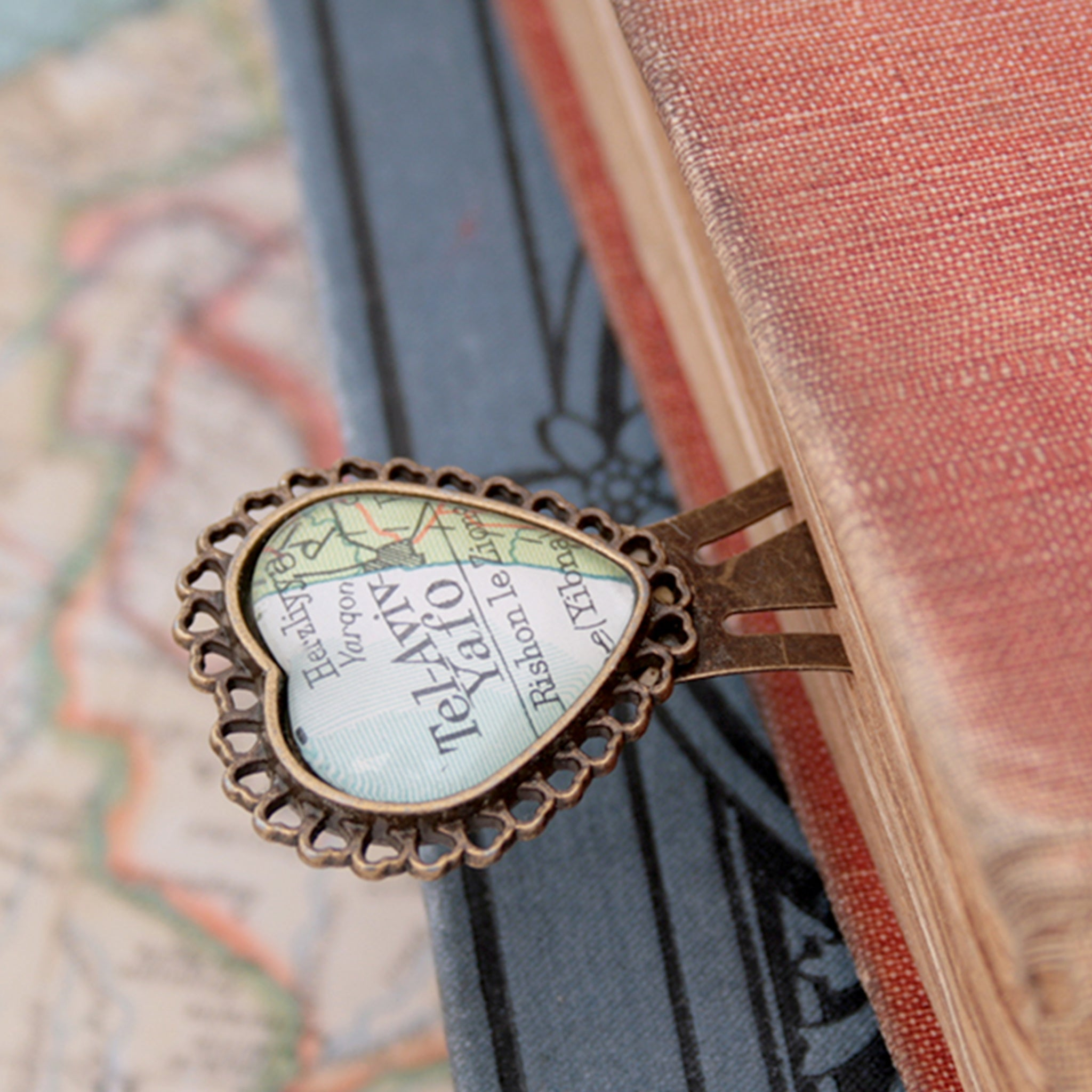 metal bookmark in heart shape personalised with map of Tel Aviv