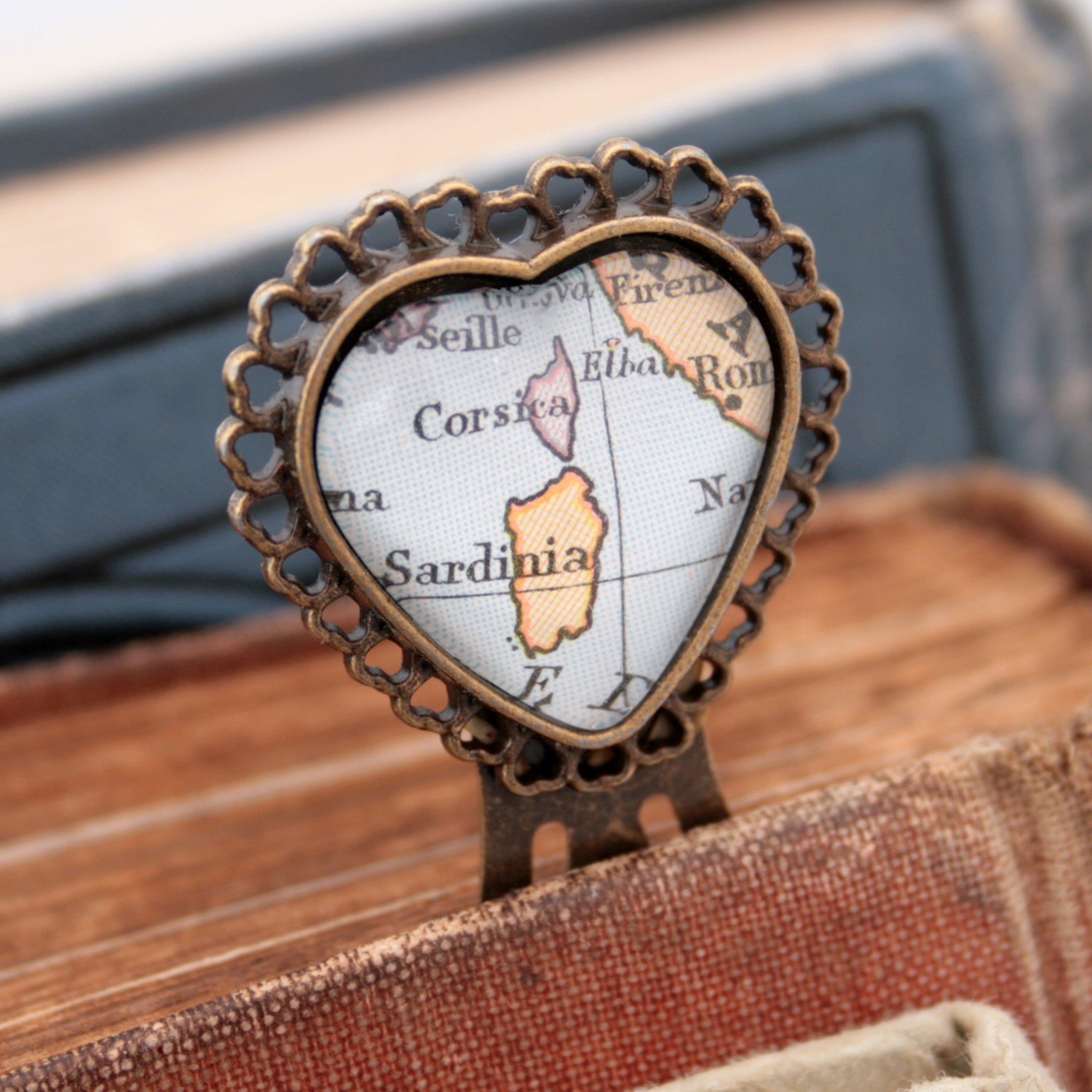 metal bookmark in heart shape personalised with map of Corsica