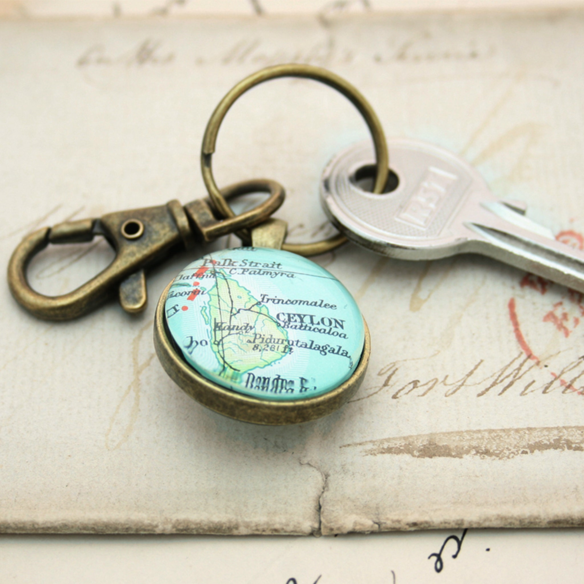 Personalised Keyring in bronze color featuring map of Ceylon