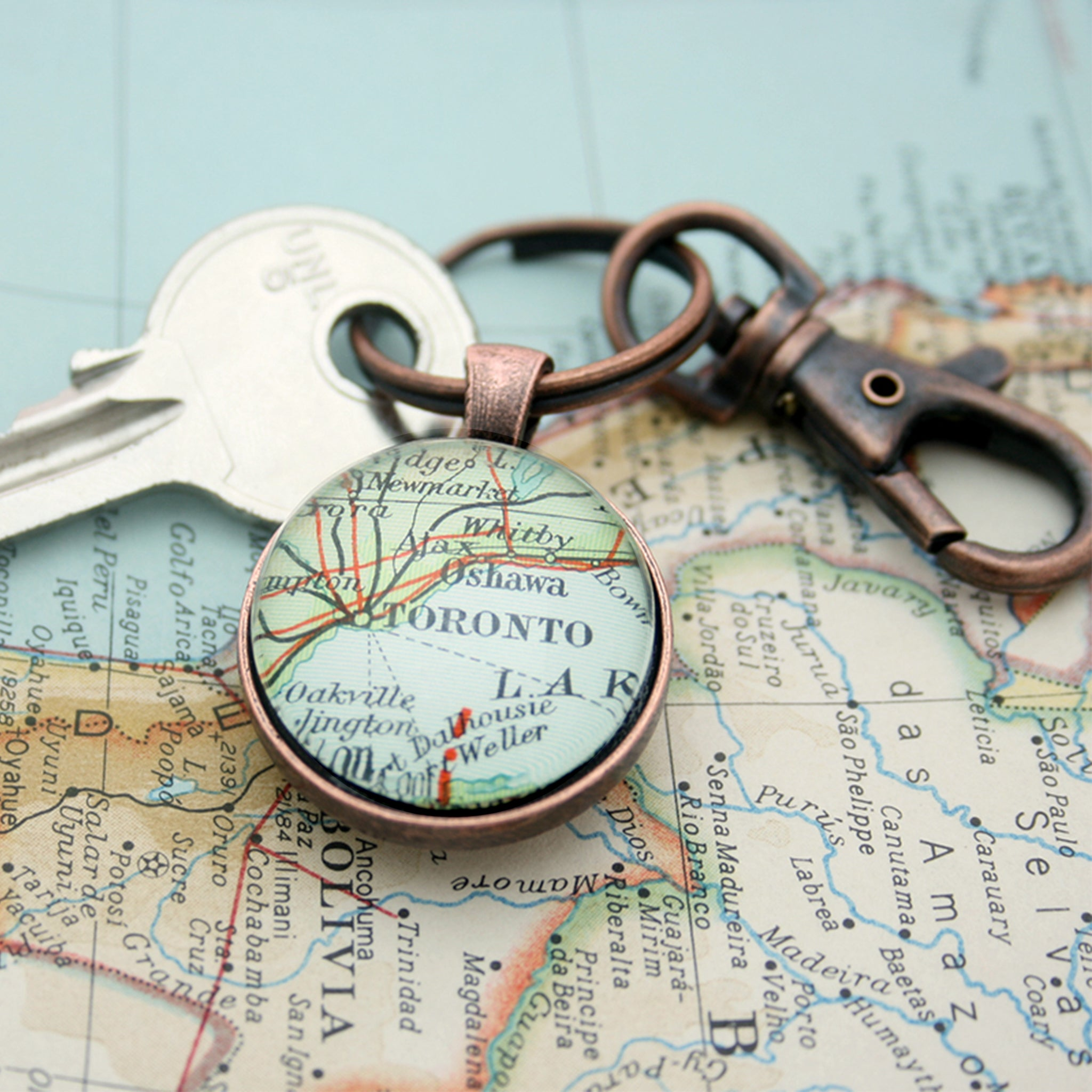 Personalised Keyring in copper color featuring map of Toronto