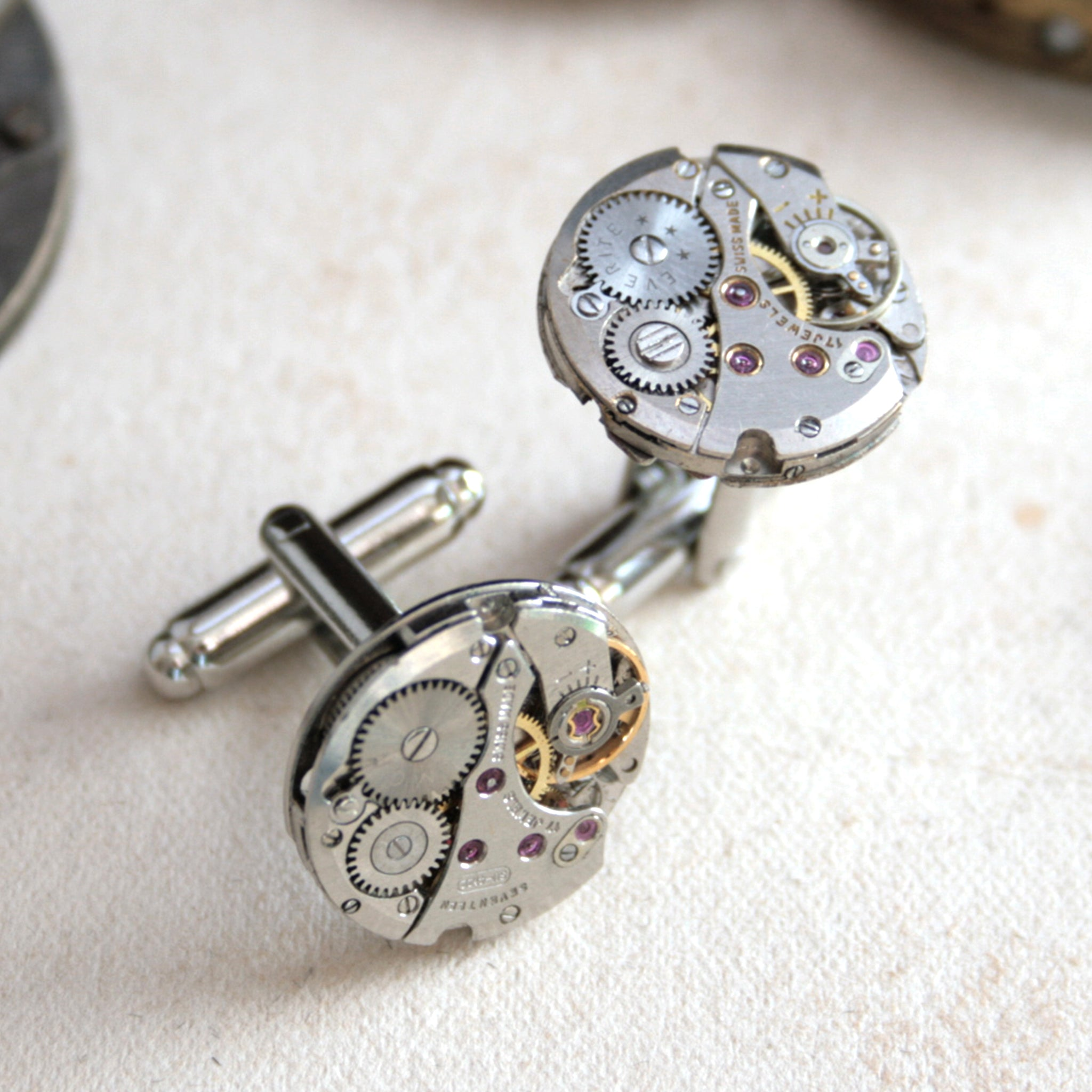 Steampunk mens cufflinks featuring antique watch movements
