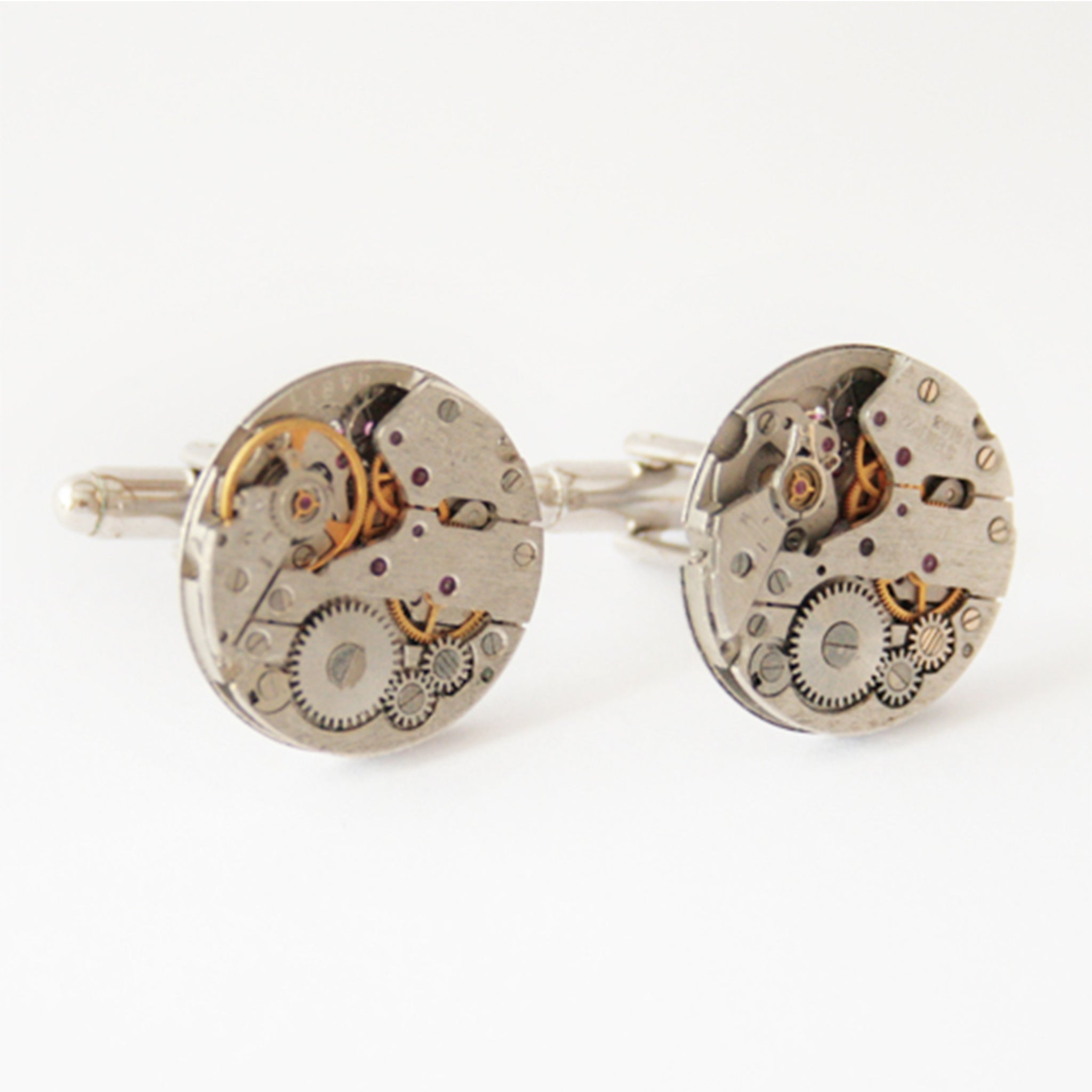novelty wedding cufflinks in steampunk style made of watch movements