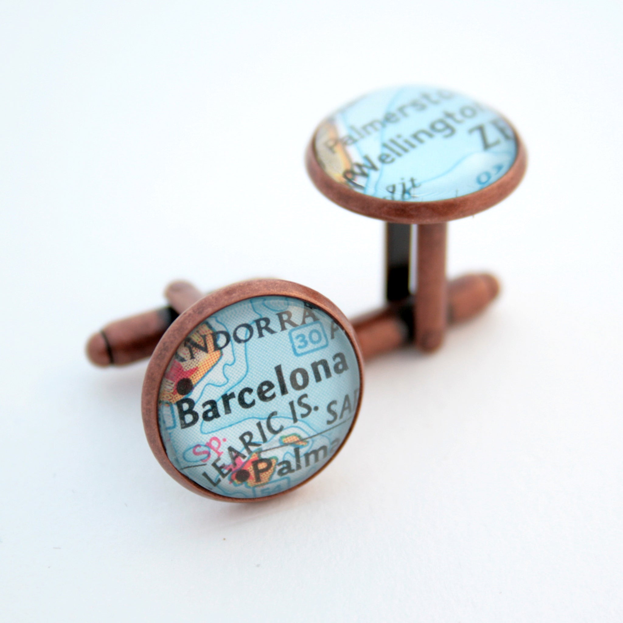 cufflinks personalised with map locations in antique copper finish