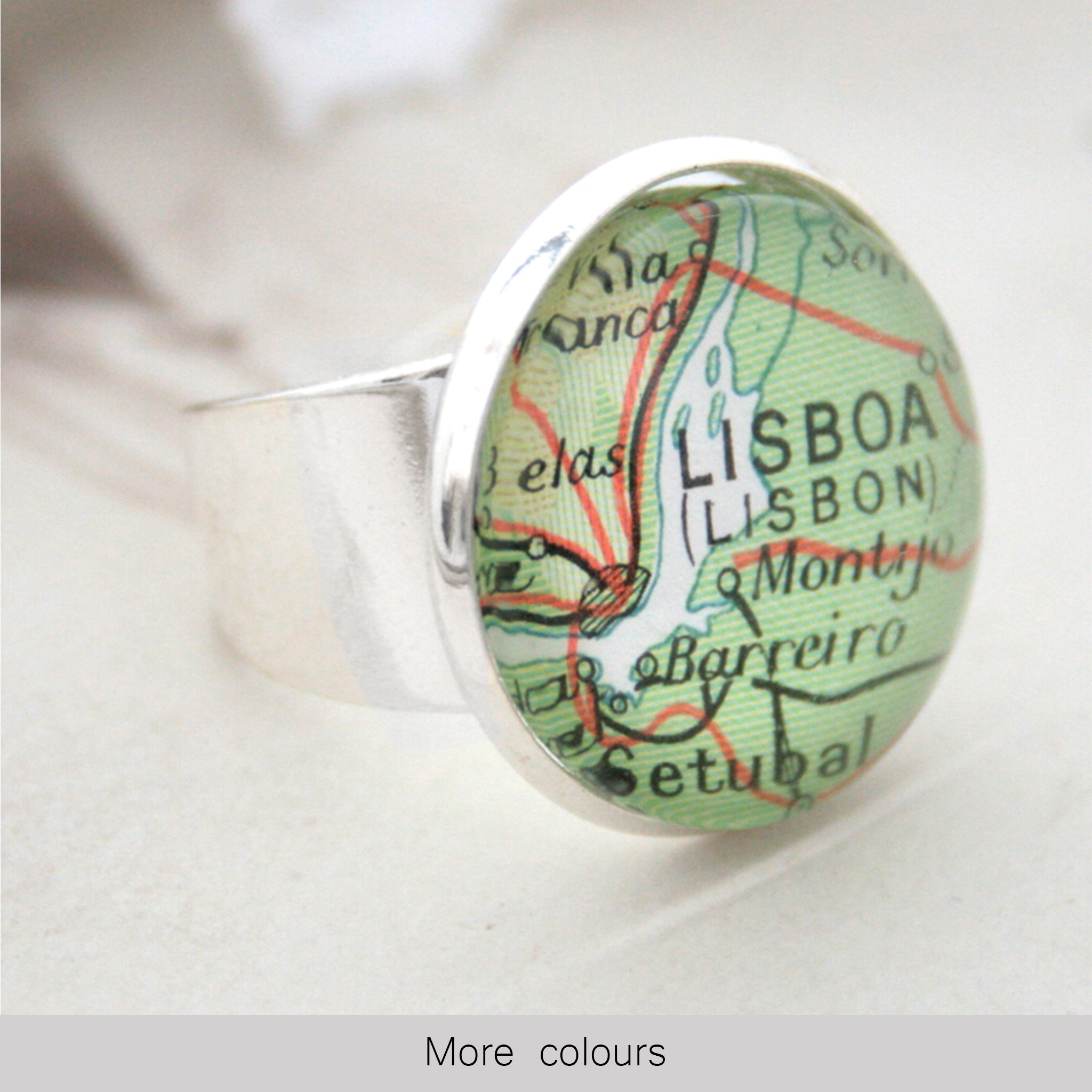 Silver ring featuring map of Lisboa