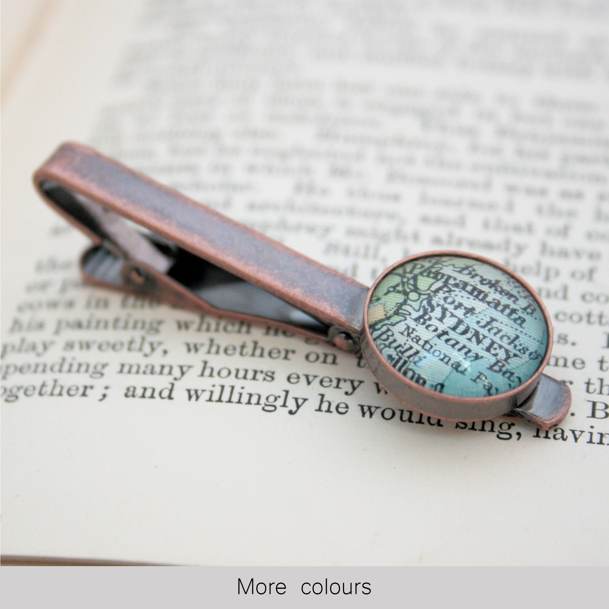 Personalised Tie Clip in copper color featuring map of Sydney