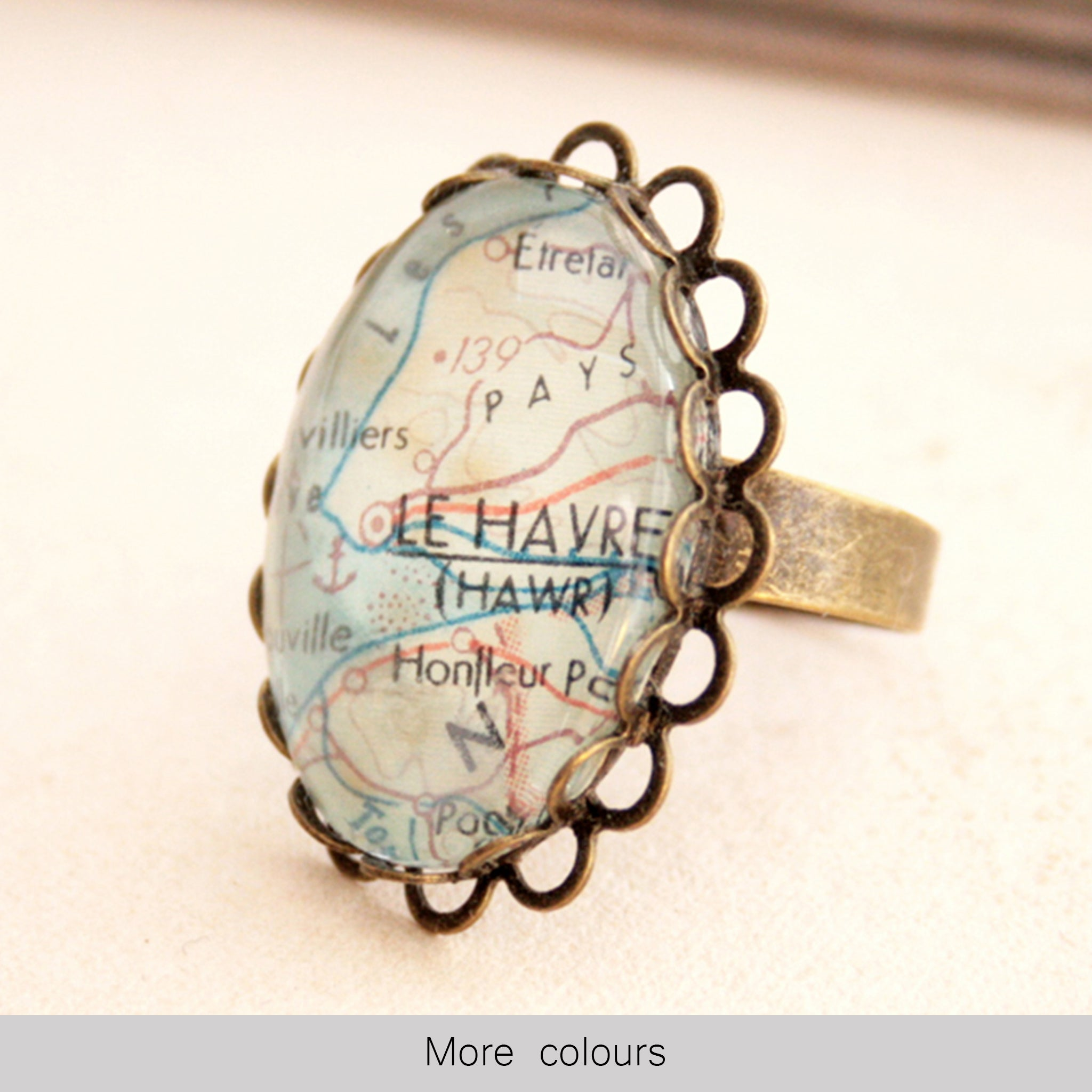 Oval bronze personalised ring featuring map of Le Havre