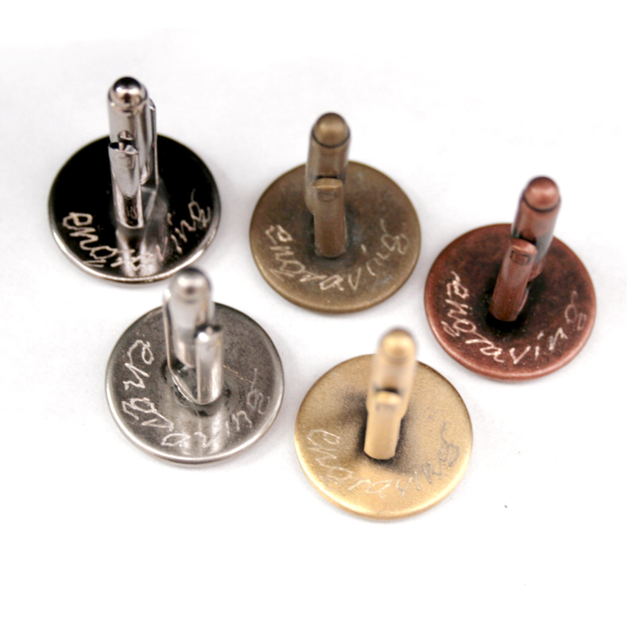 Engraving on metal cufflinks in black, antique bronze, copper, antique silver and brushed bronze