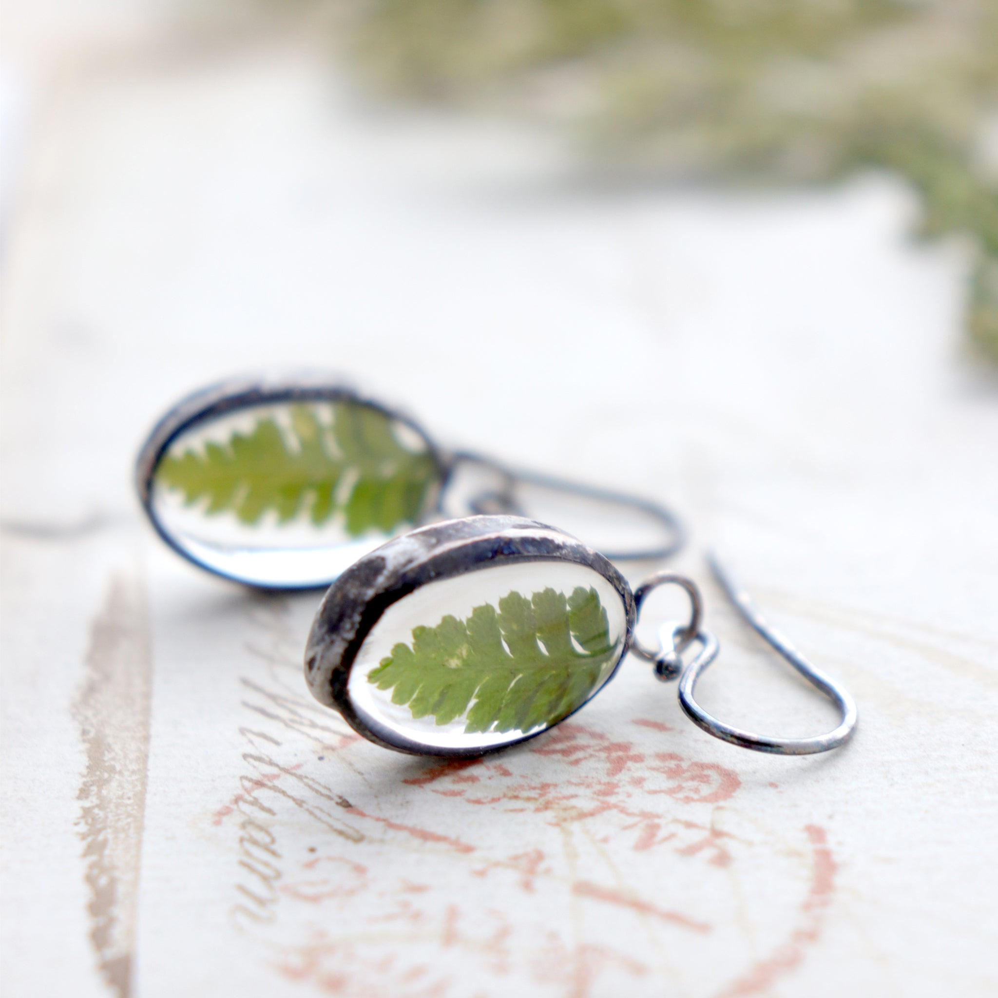 Earrings with real fern lying on an old letter