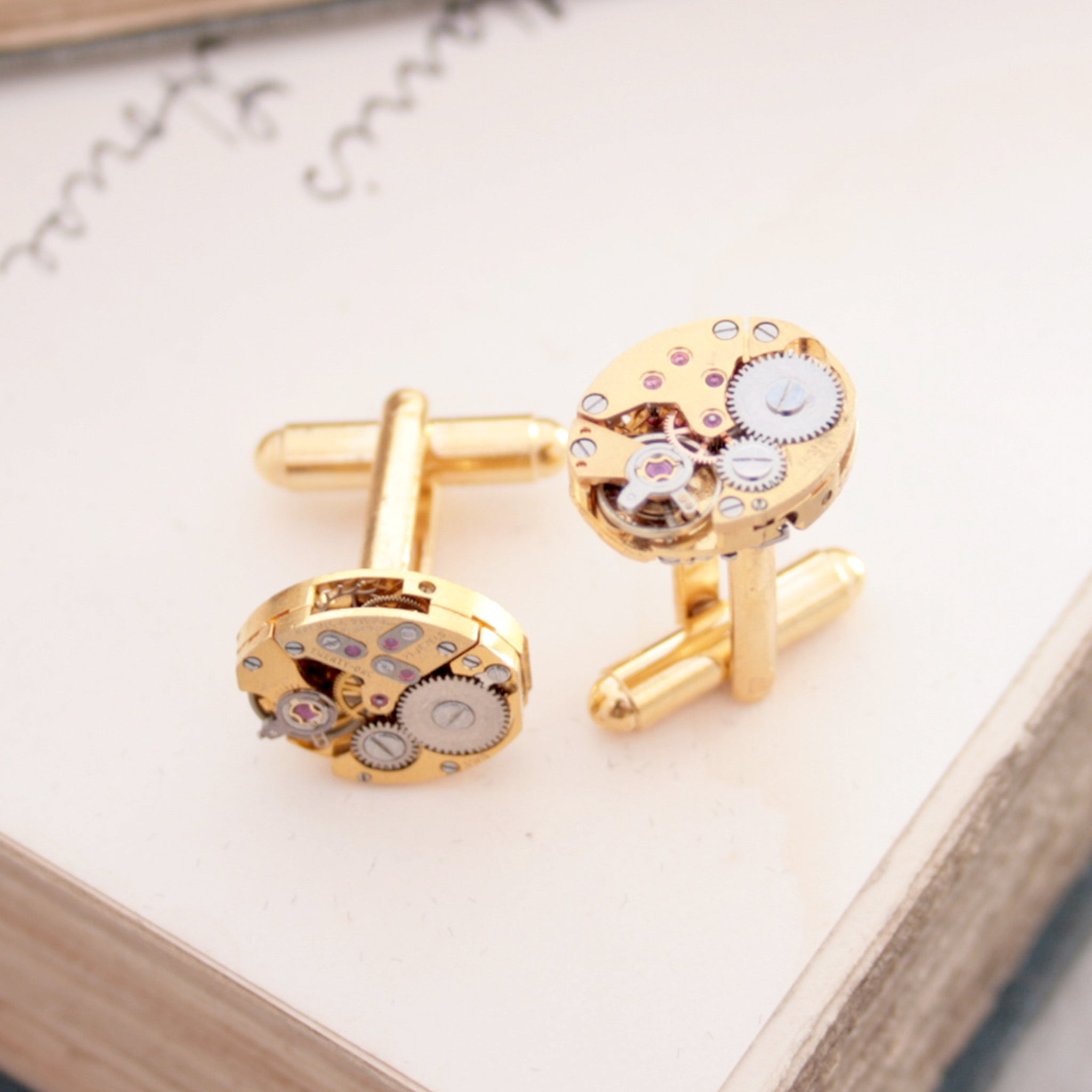 Gold Watch Cufflinks made of Rotary watch movements