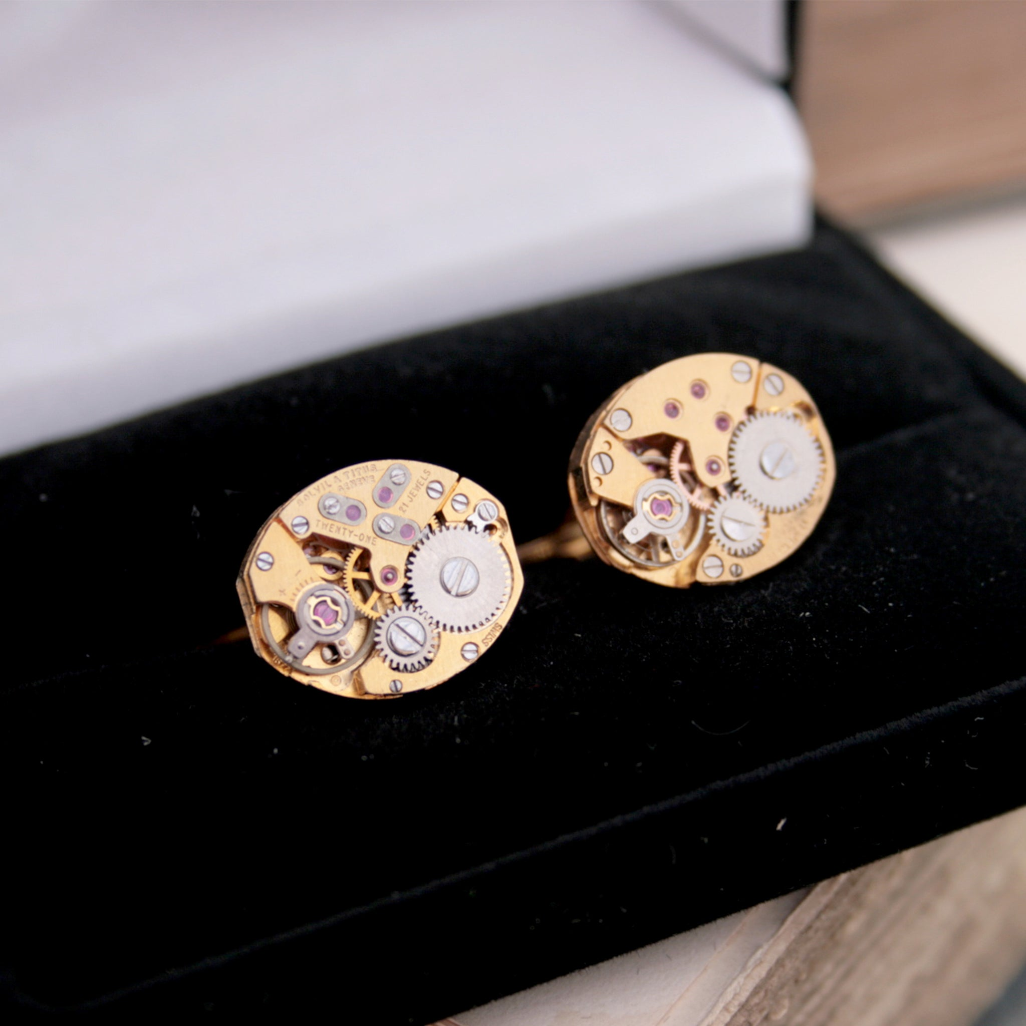 Gold Watch Cufflinks made of Rotary watch movements in a black velour box