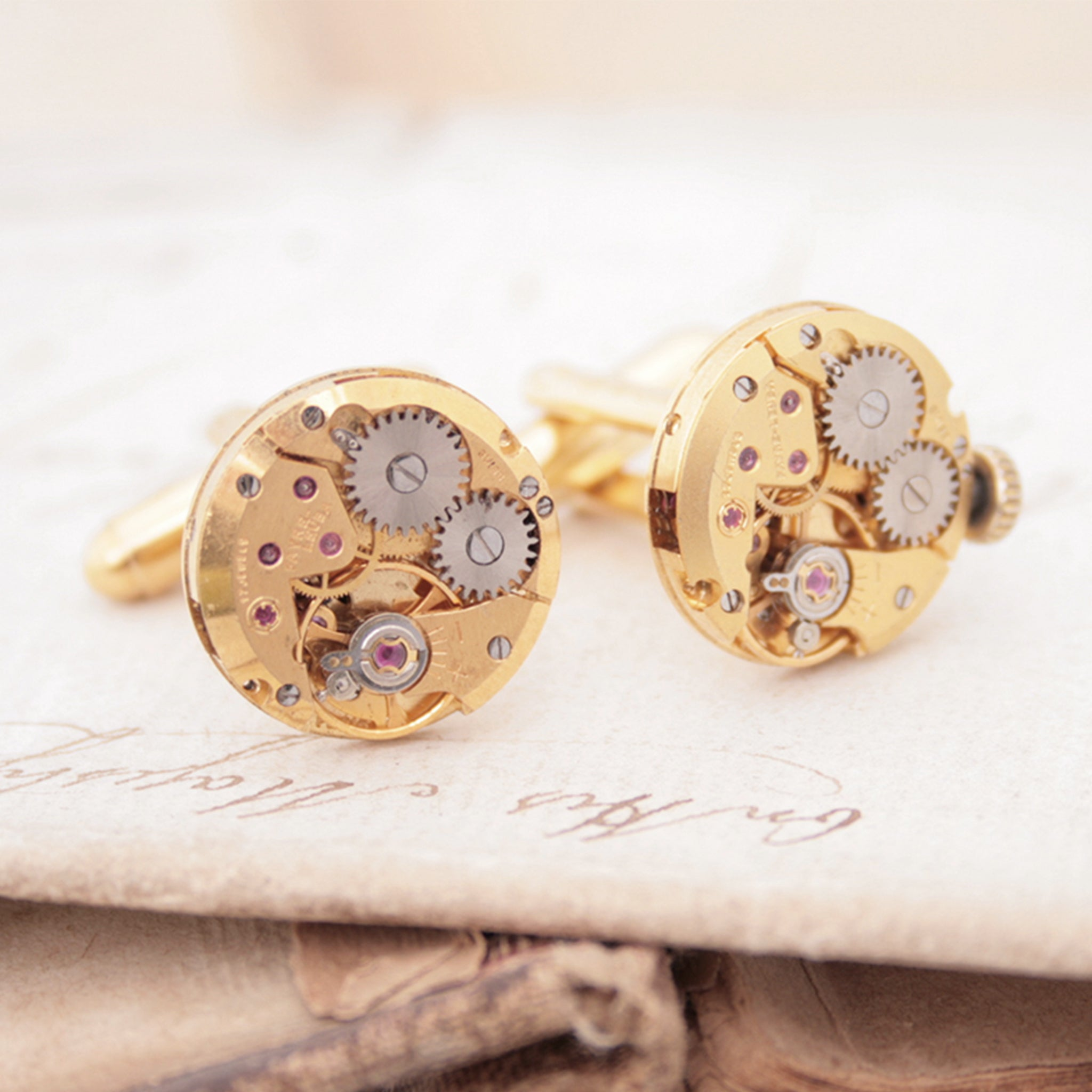 Gold Cufflinks in Steampunk Style
