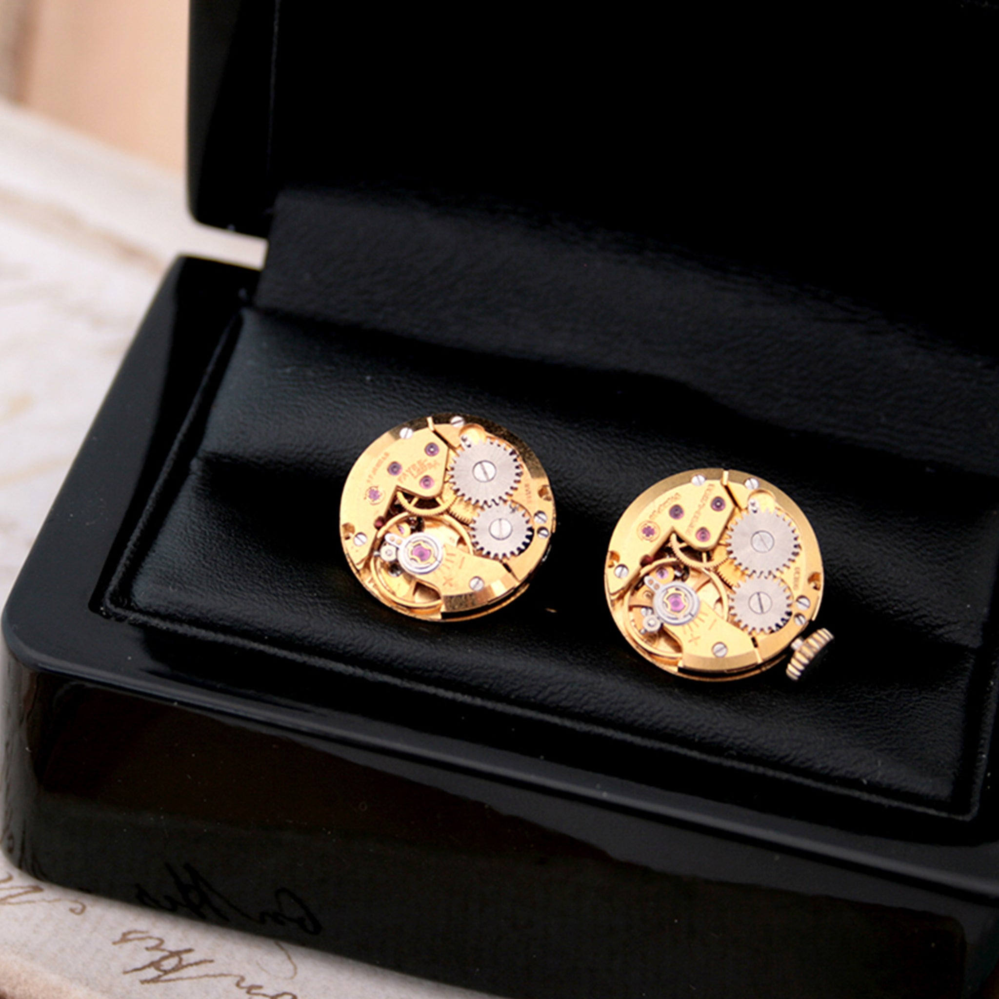 Gold Cufflinks in Steampunk Style in ebpony wooden box