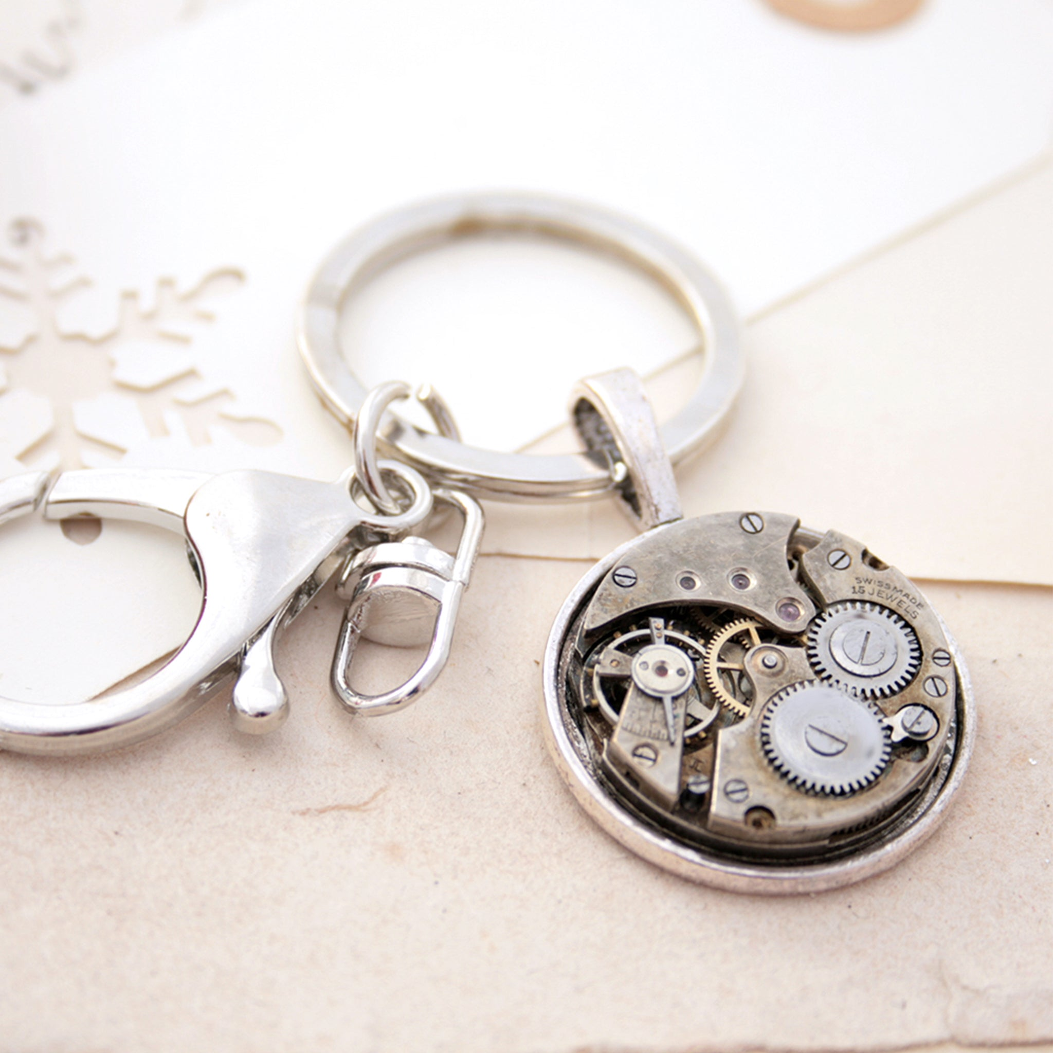 keyrings for car keys with steampunk watch