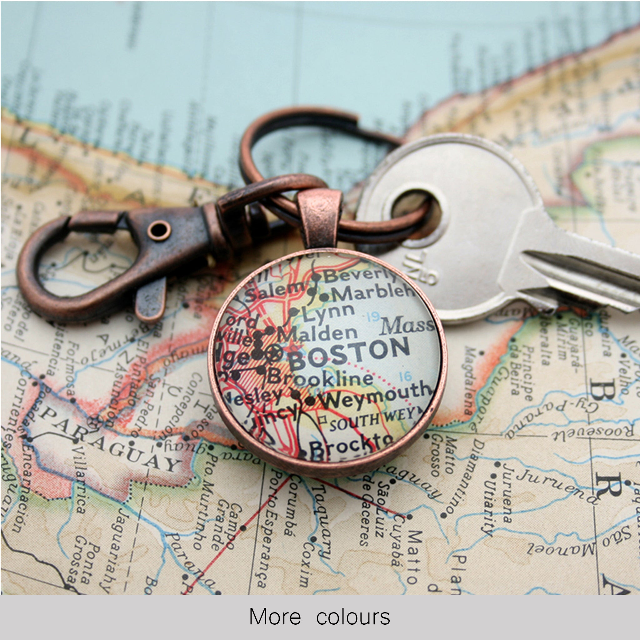 Personalised Keyring in copper color featuring map of Boston