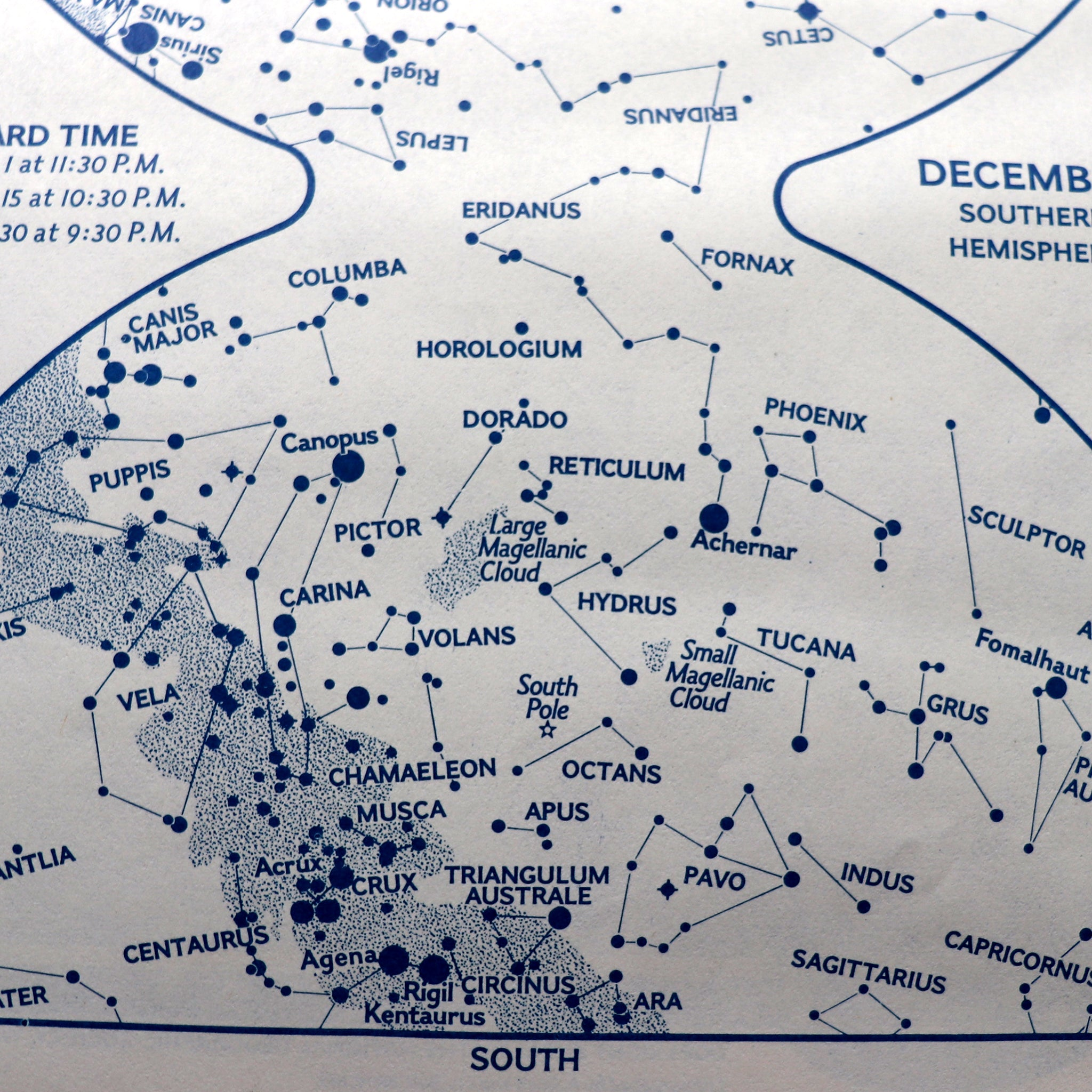White map of heavens featuring stars and constellations