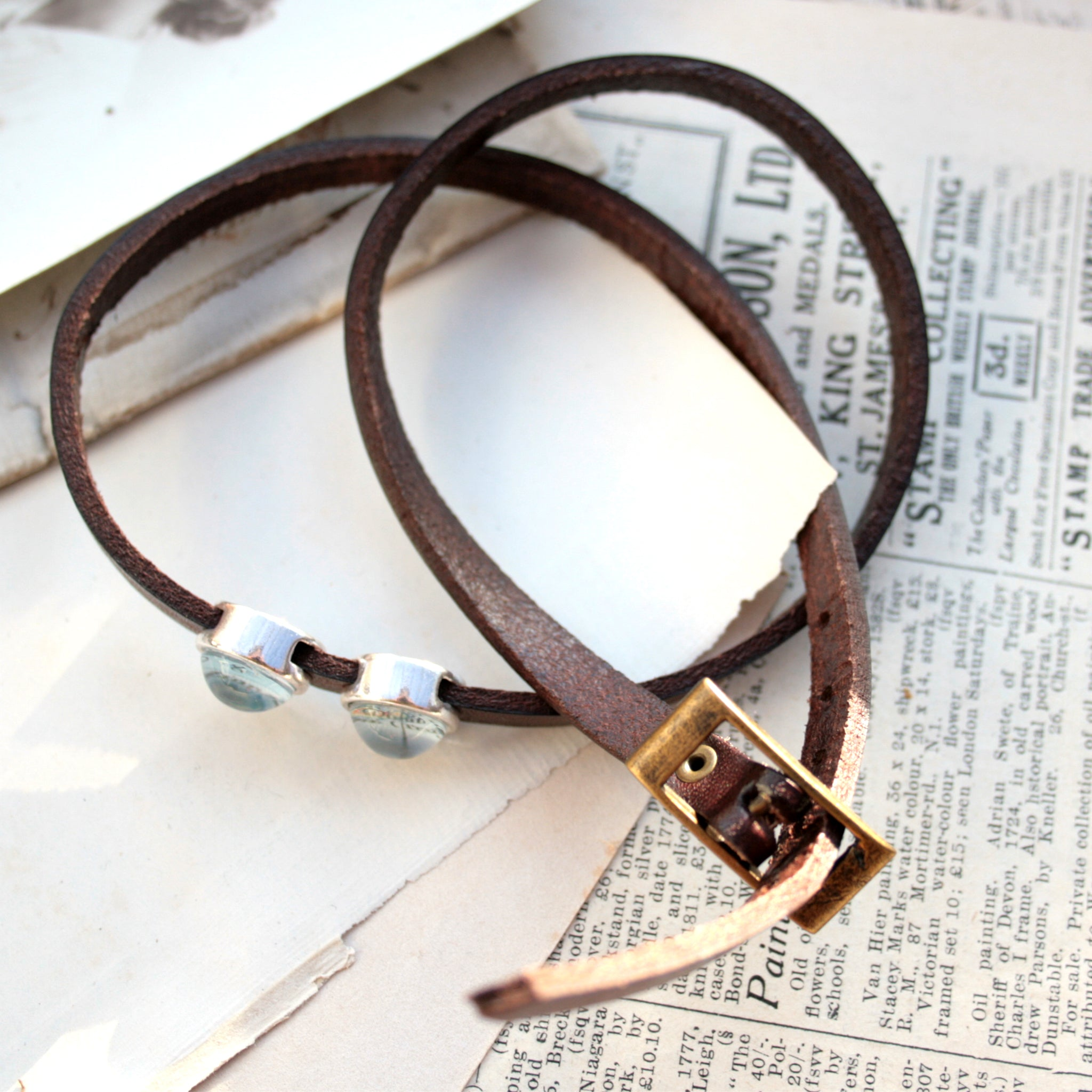 Dark brown mens leather bracelet personalised with maps