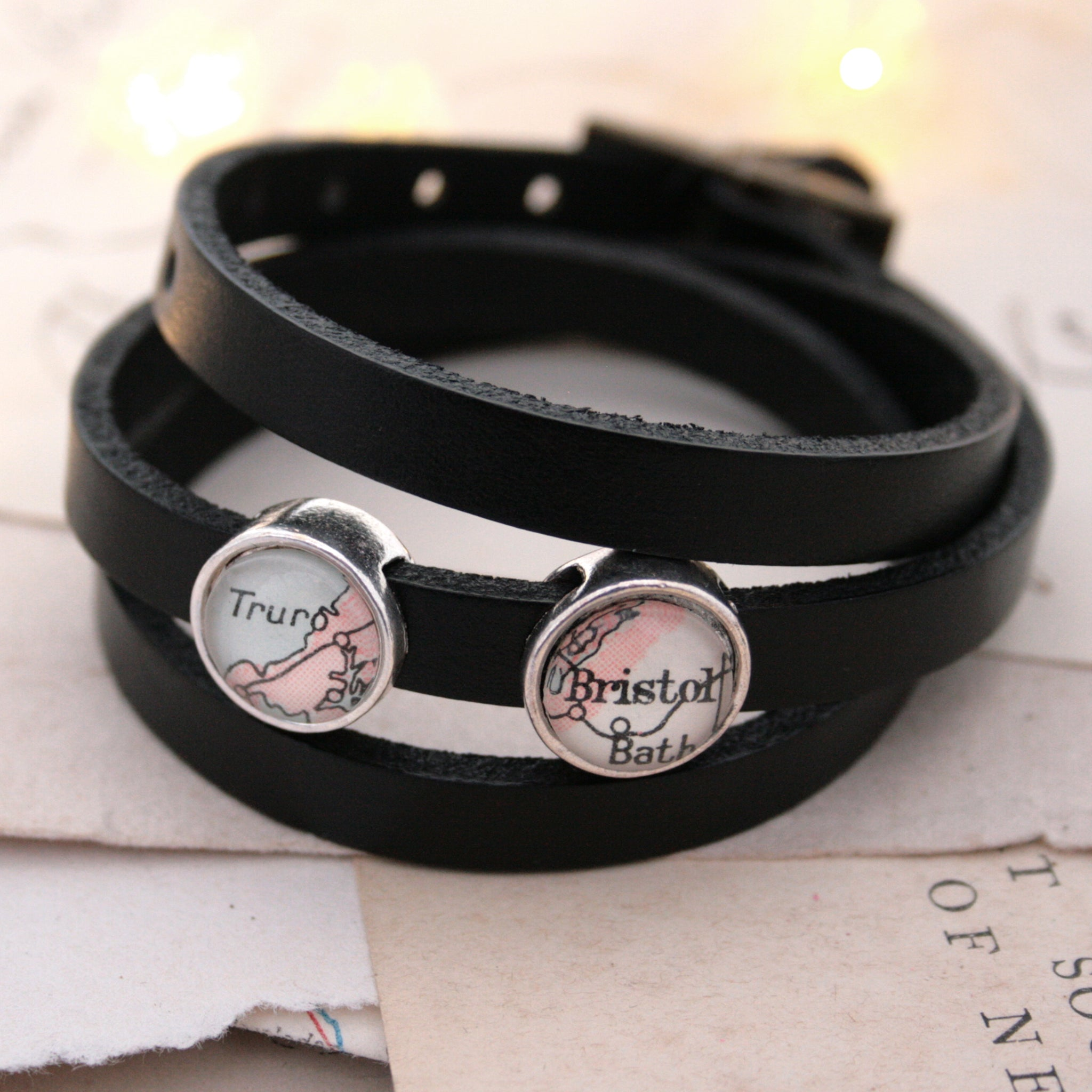 Black mens leather bracelet personalised with maps