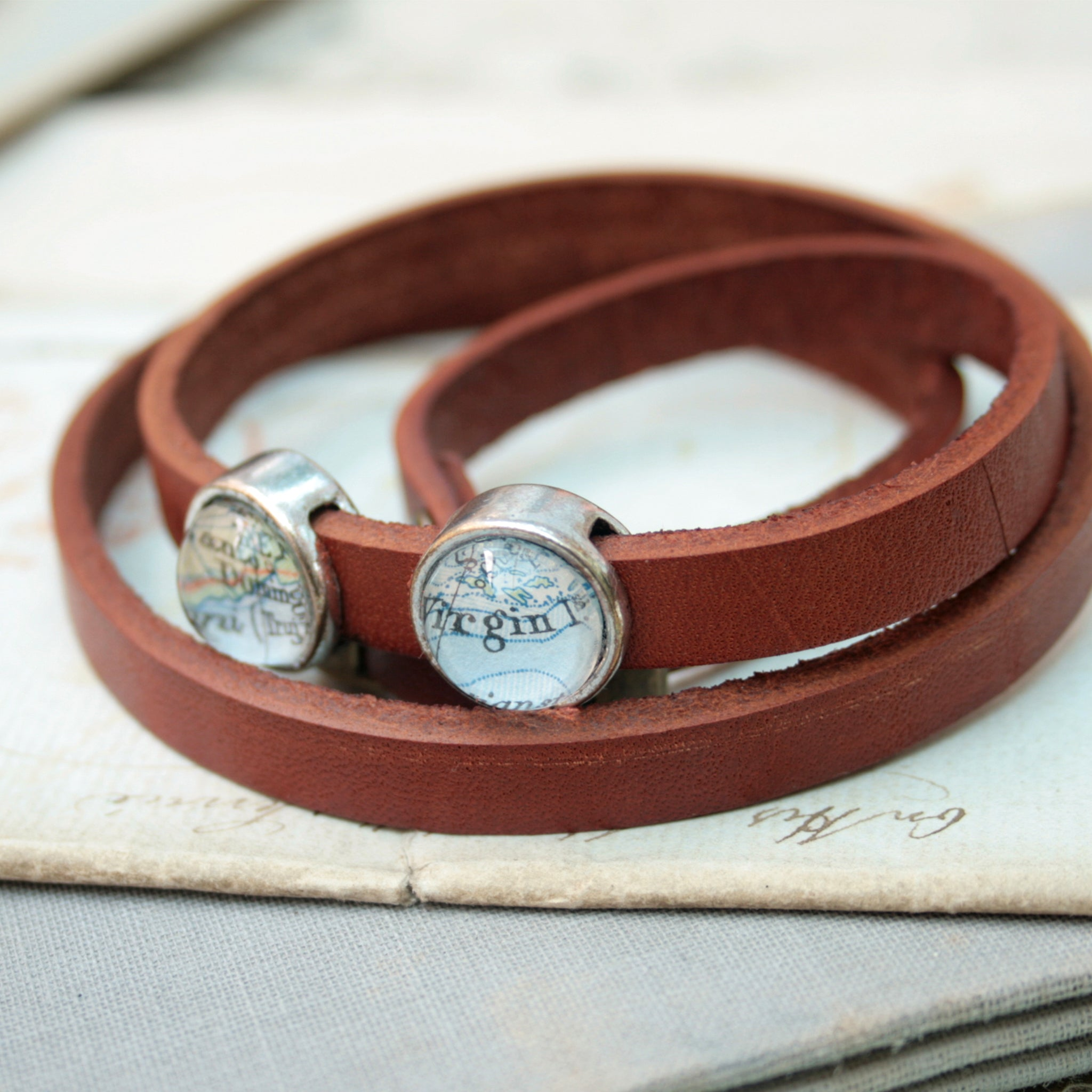 light brown mens leather bracelet personalised with maps