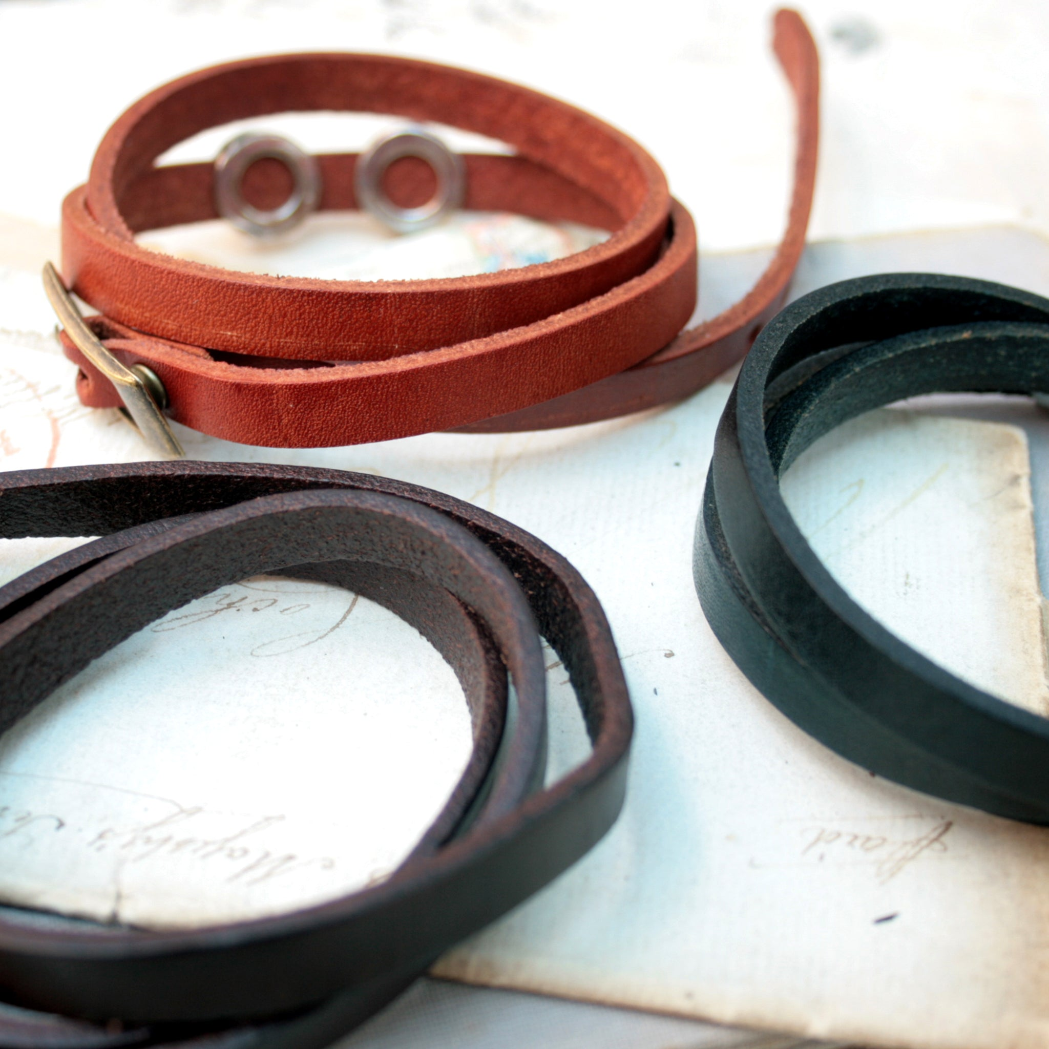 dark brown, light brown and black mens leather bracelets