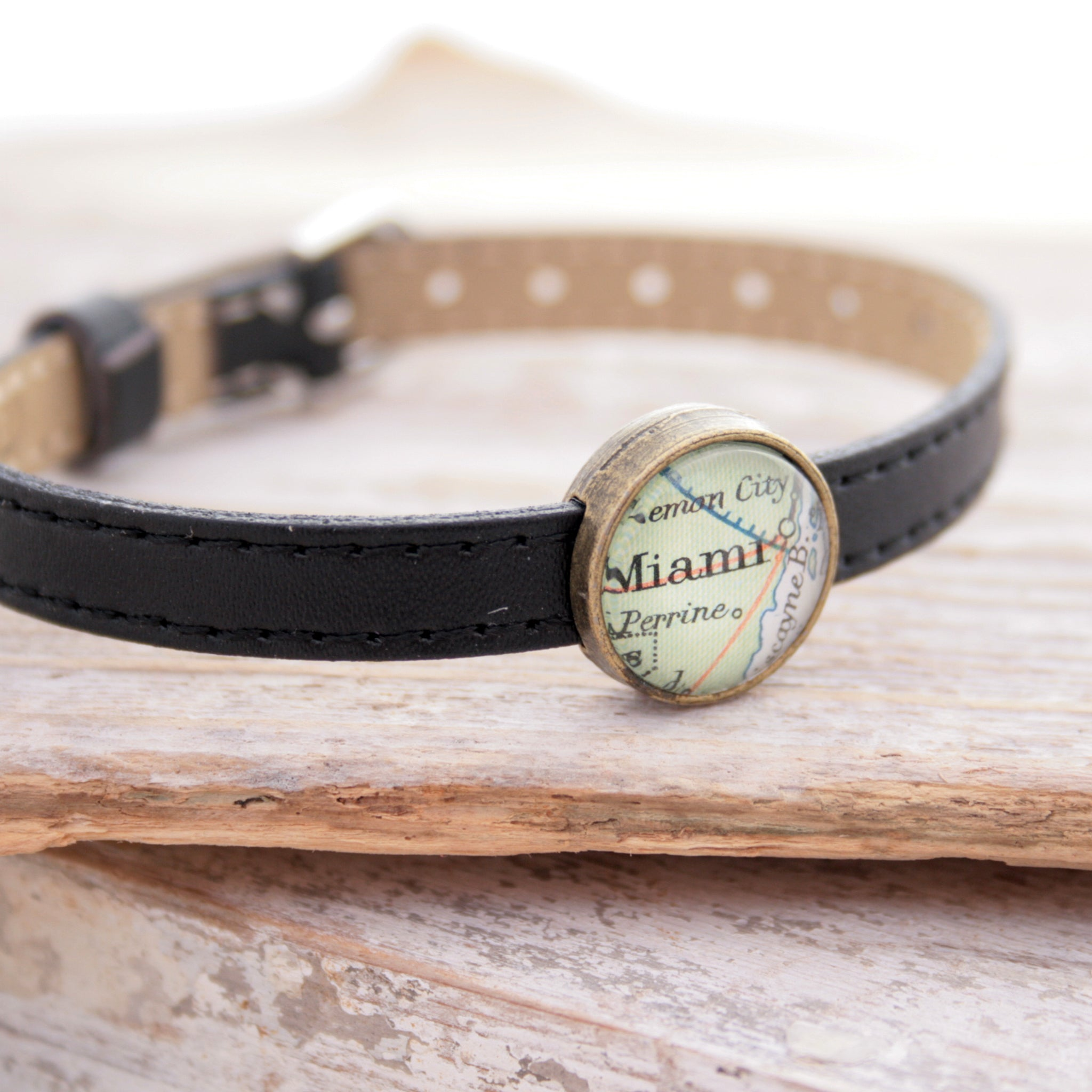 Black leather bracelet with custom map location bead