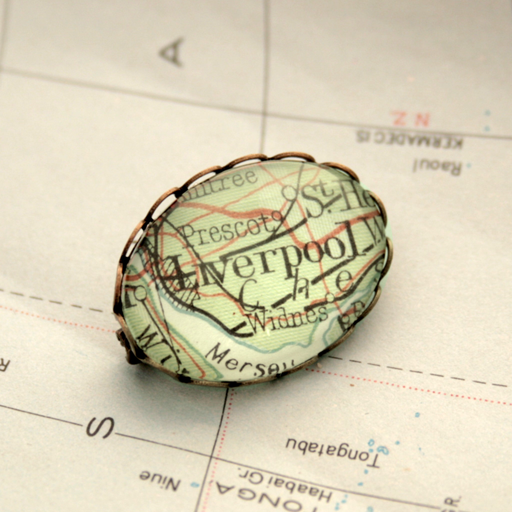 Antique Bronze brooch featuring map of Liverpool