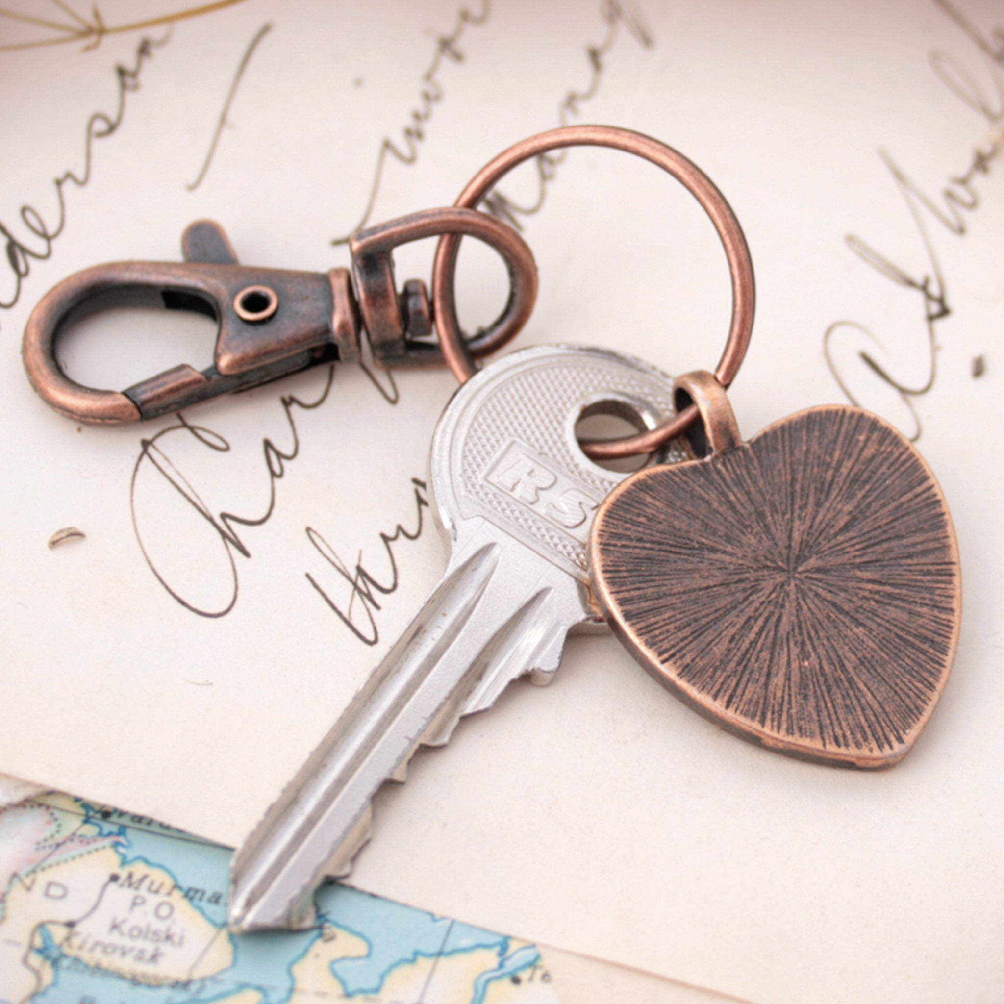 Heart shaped keychain in copper tone