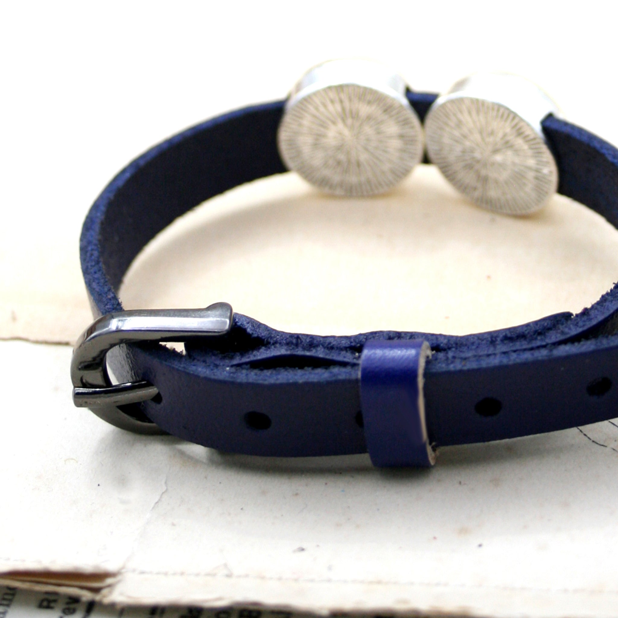 Blue leather bracelet buckle