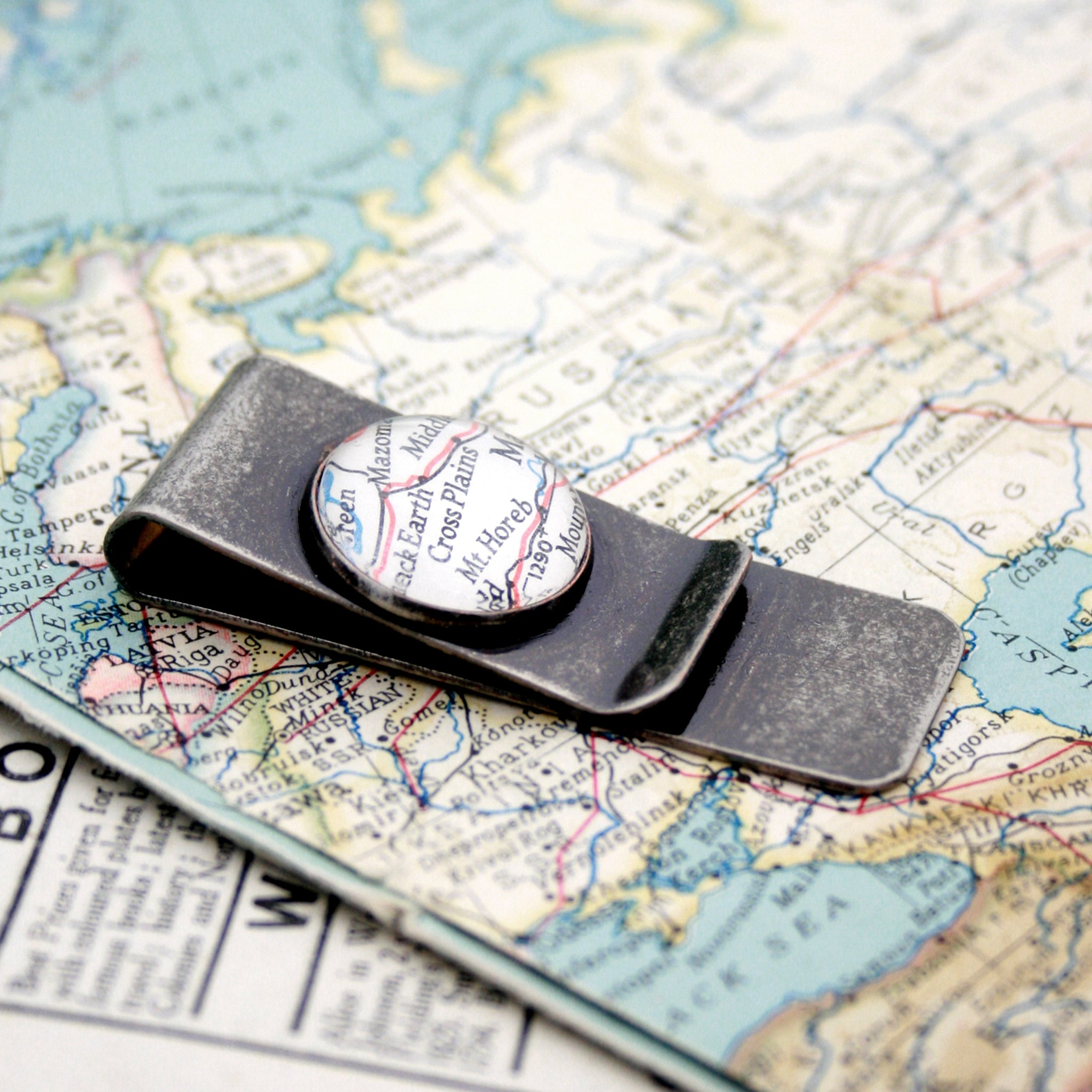 Antique Silver money clip featuring map of North America