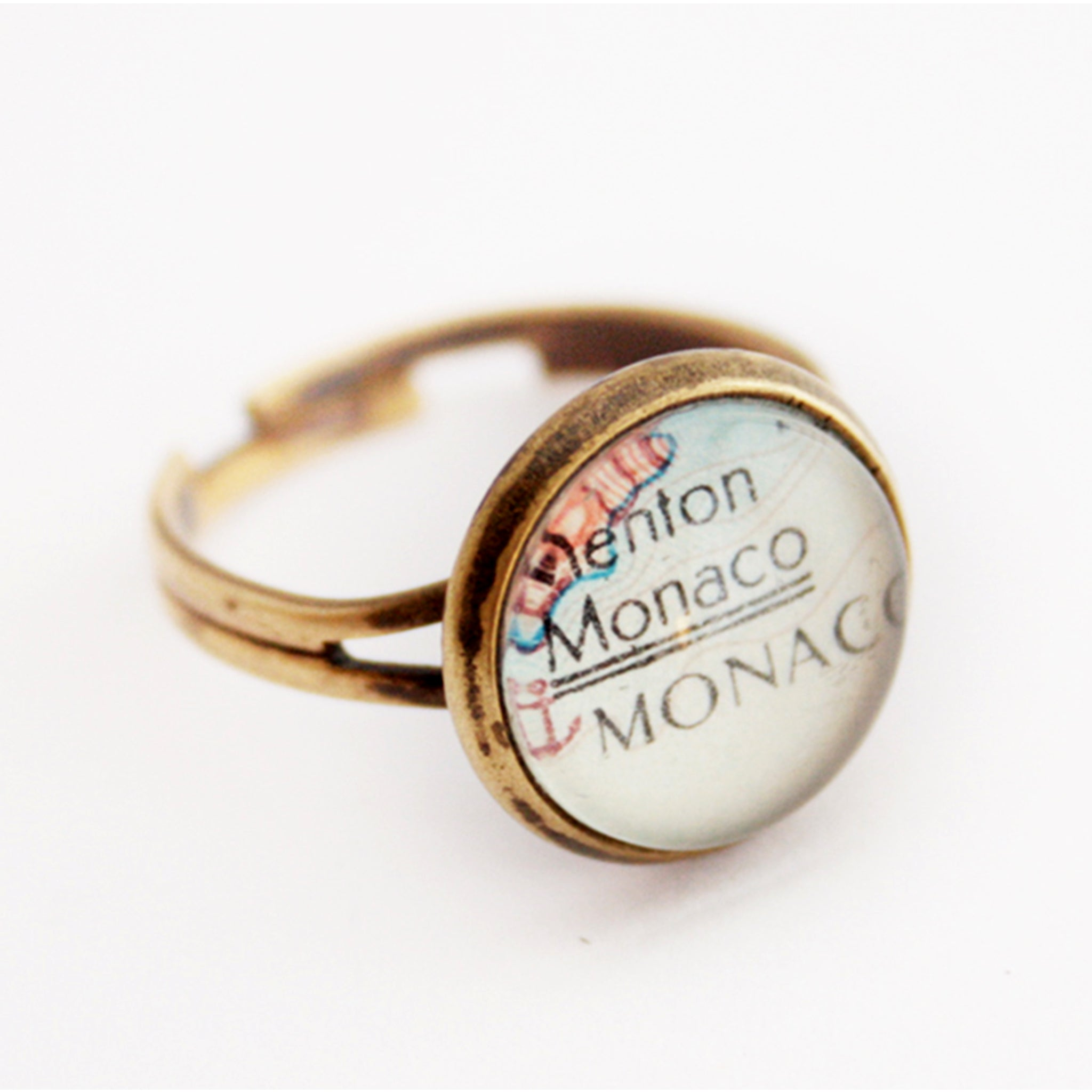tiny wanderlust ring in antique bronze tone personalised with map of Monaco