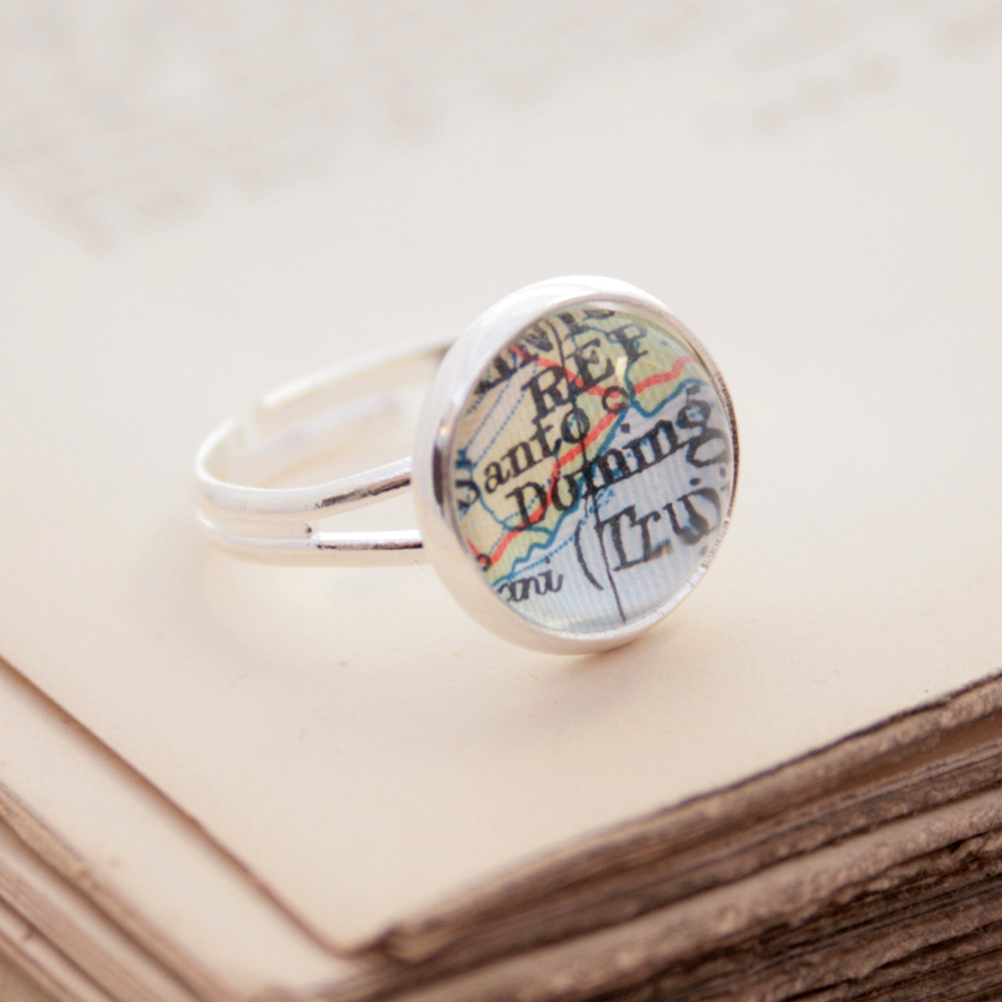 tiny wanderlust ring in silver tone personalised with map of Dominican Republic