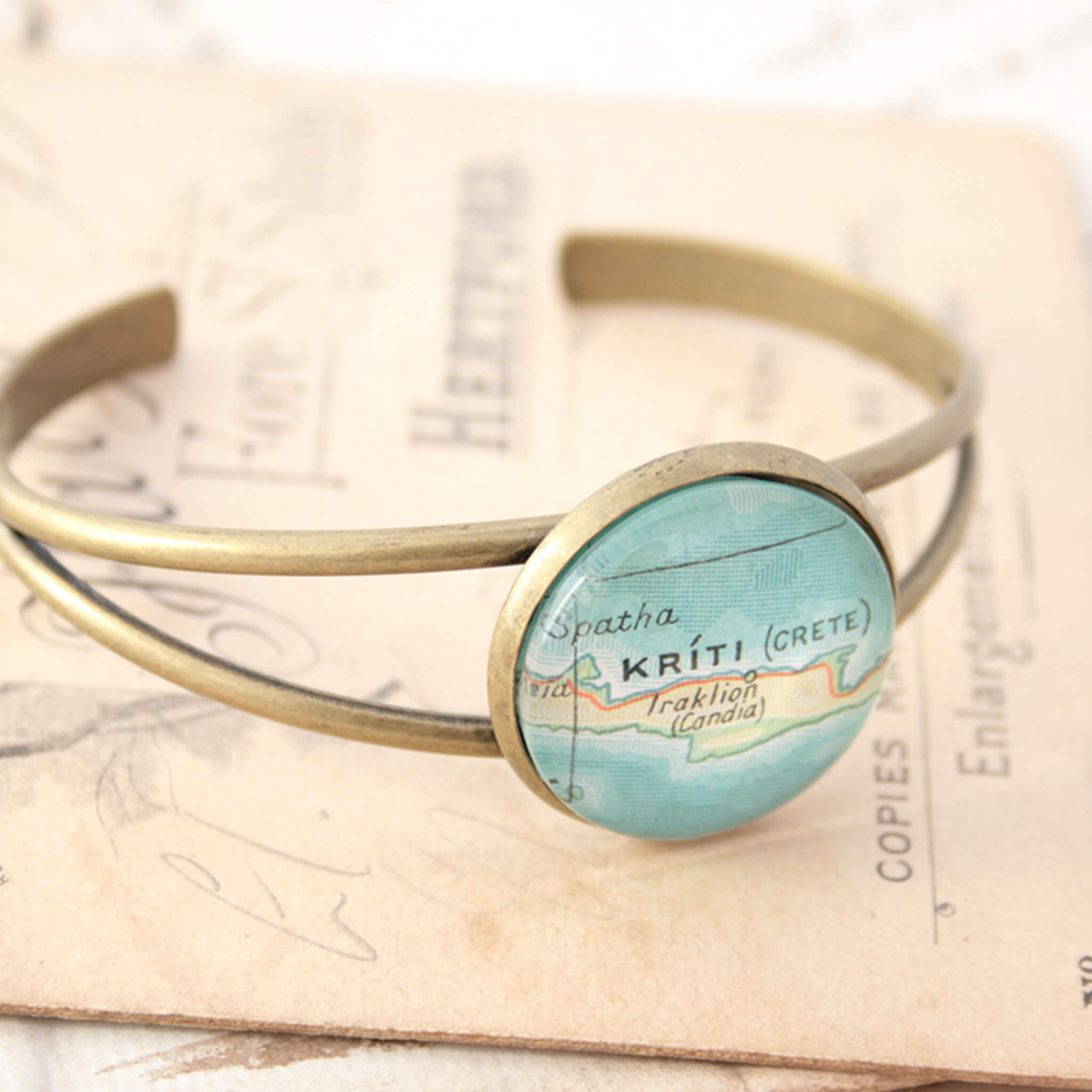 bangle bracelet in antique bronze tone, personalised with map of Kriti